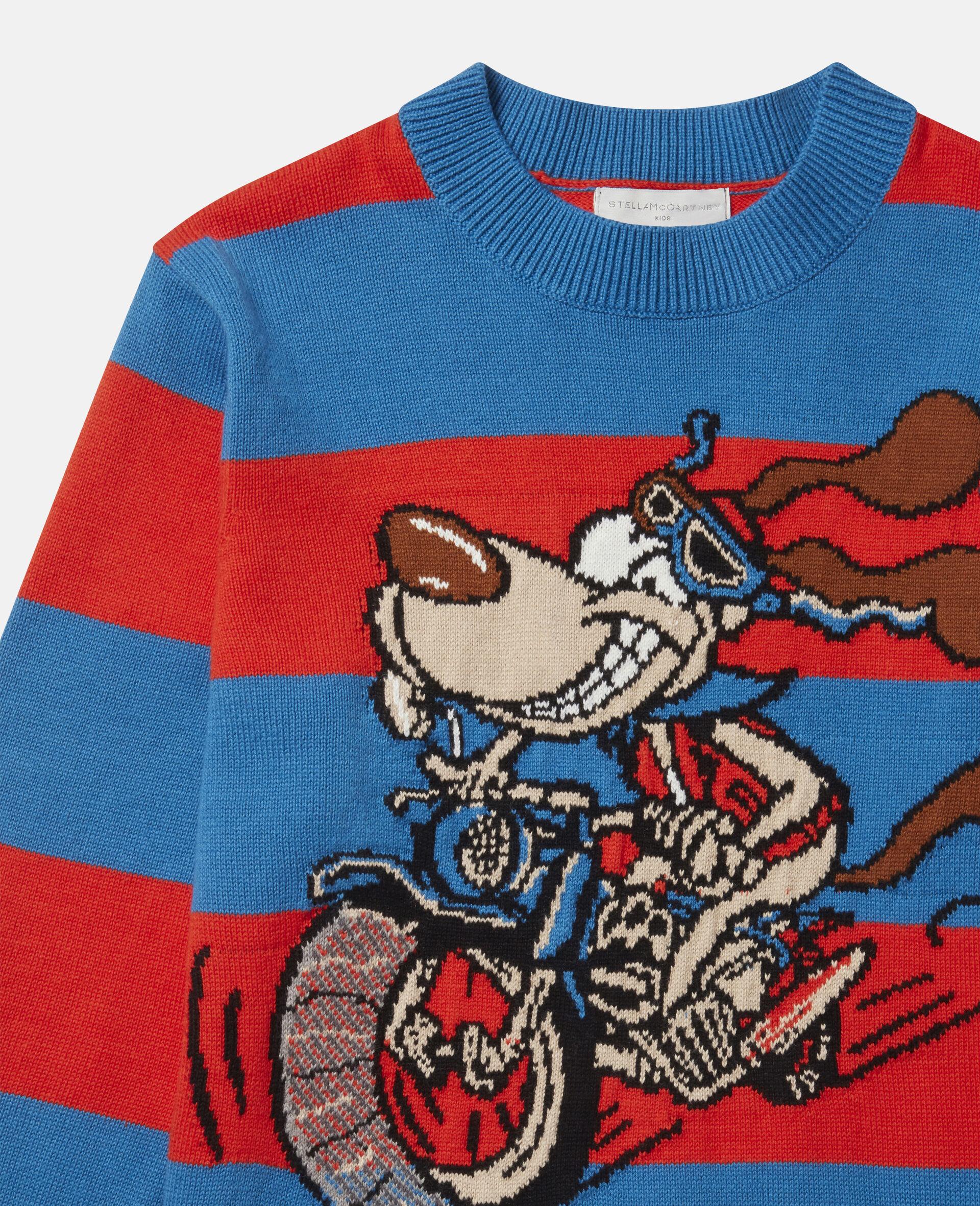 Crazy Dog Oversized Knit Intarsia Sweater-Multicoloured-large image number 1