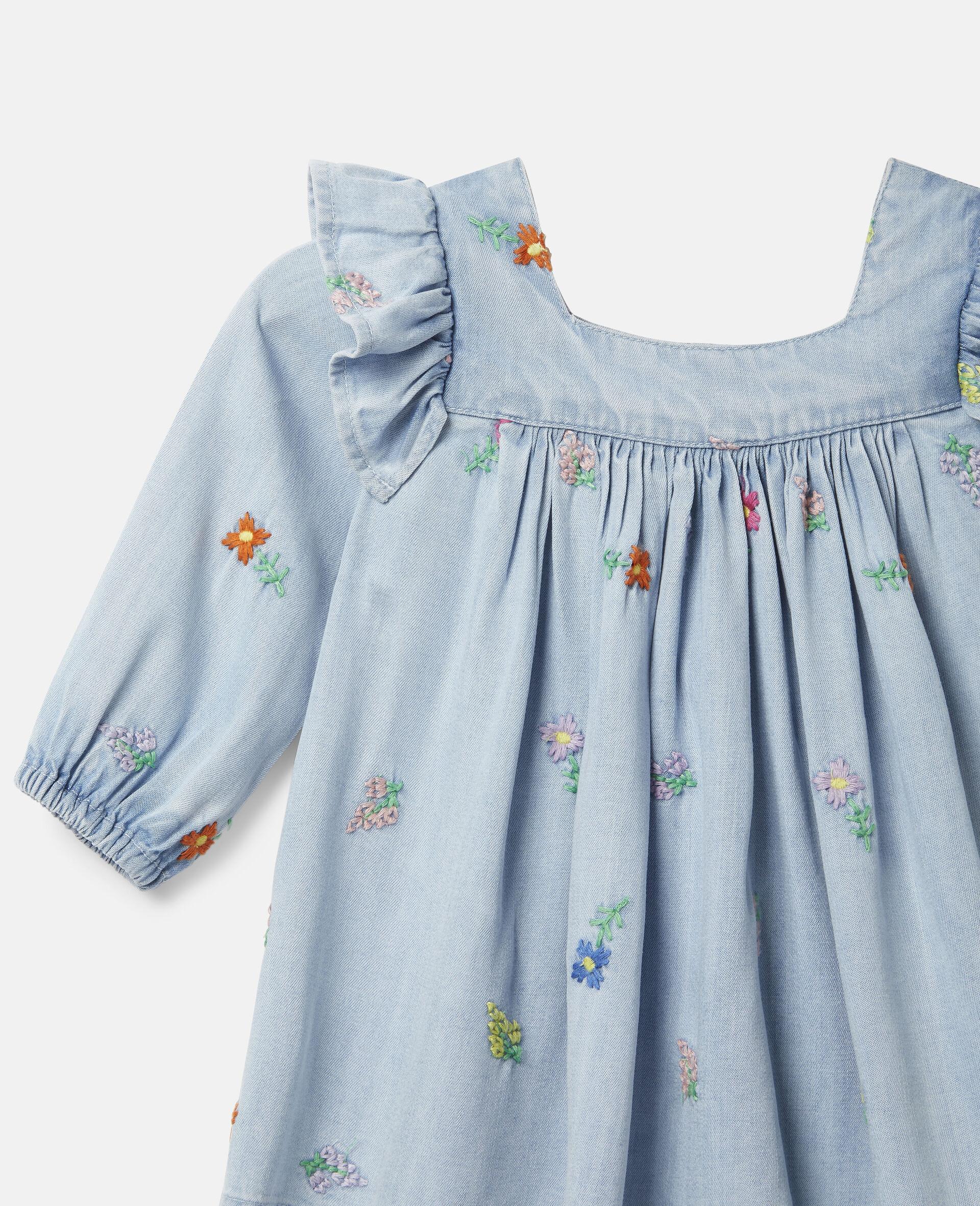 Denim-Kleid mit Blumenstickerei-Blau-large image number 2