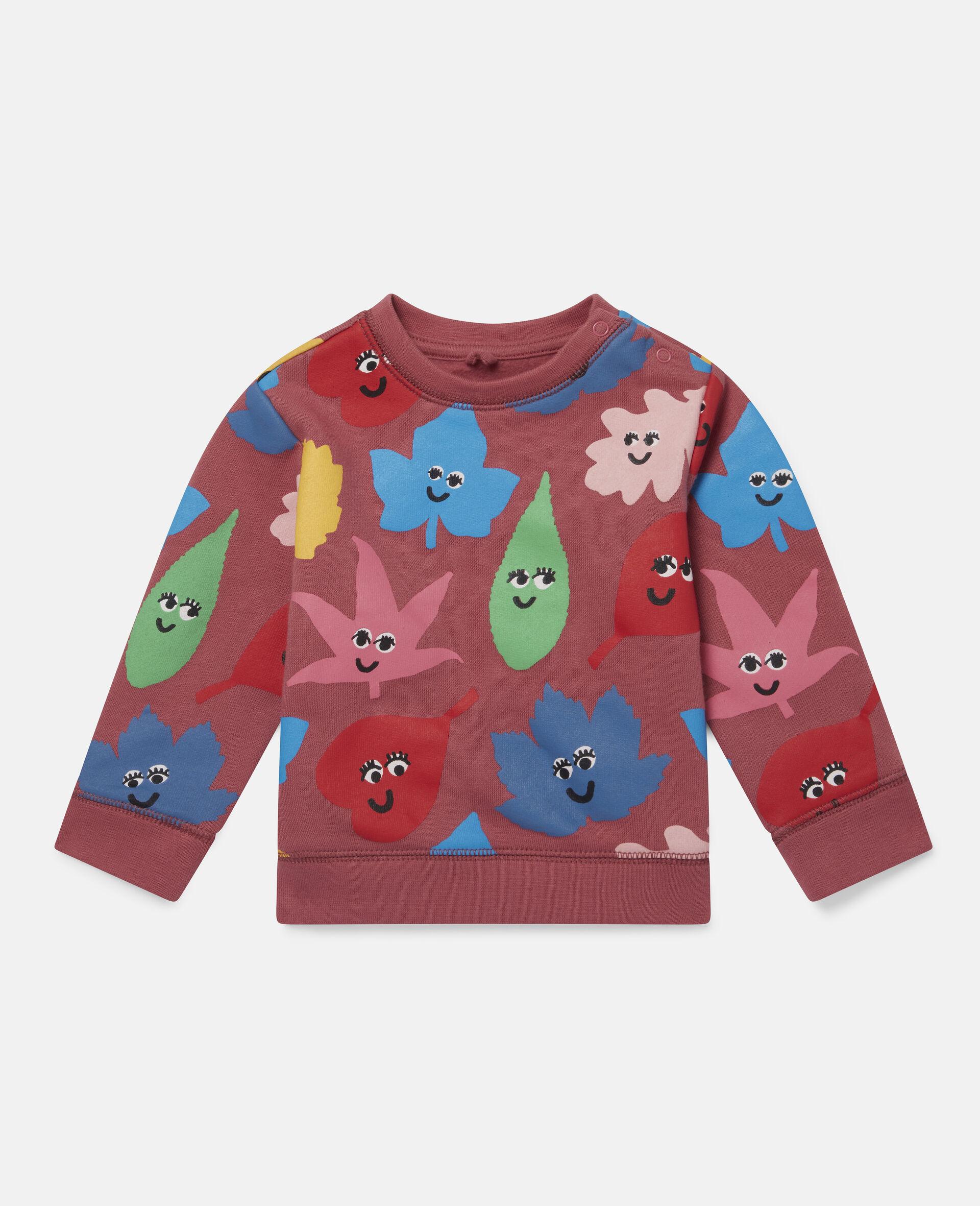 Pullover aus Fleece mit Happy Leaf Print-Rot-large image number 0