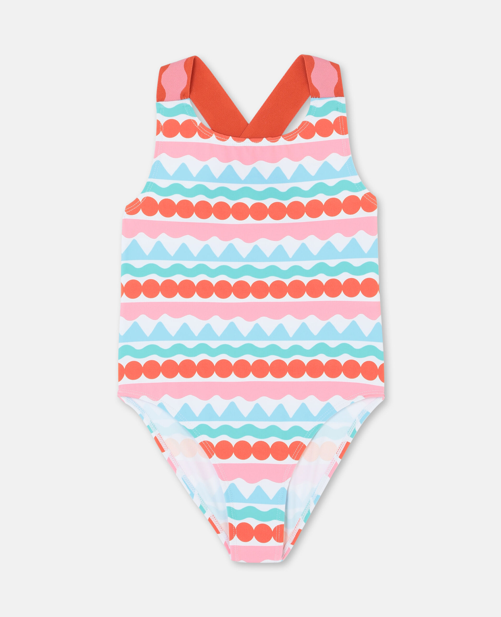 Graphic Stripes Swimsuit-Multicolour-large image number 0