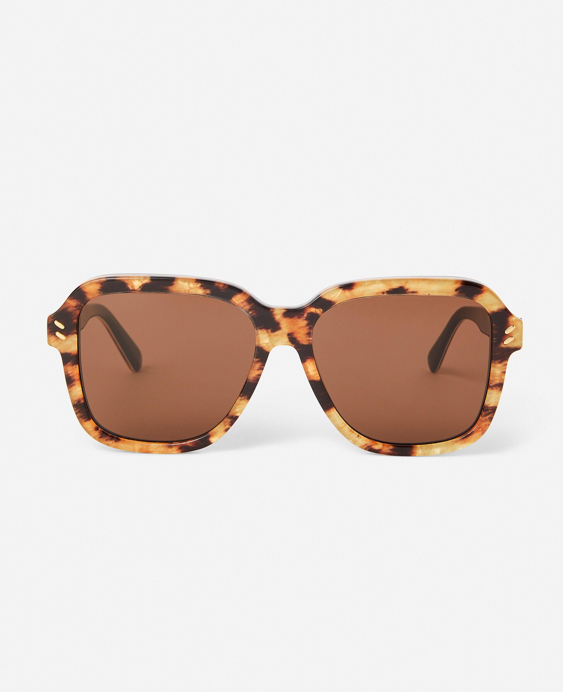 Sonnenbrille mit Leopard-Muster und eckiger Fassung-Brown-large image number 0