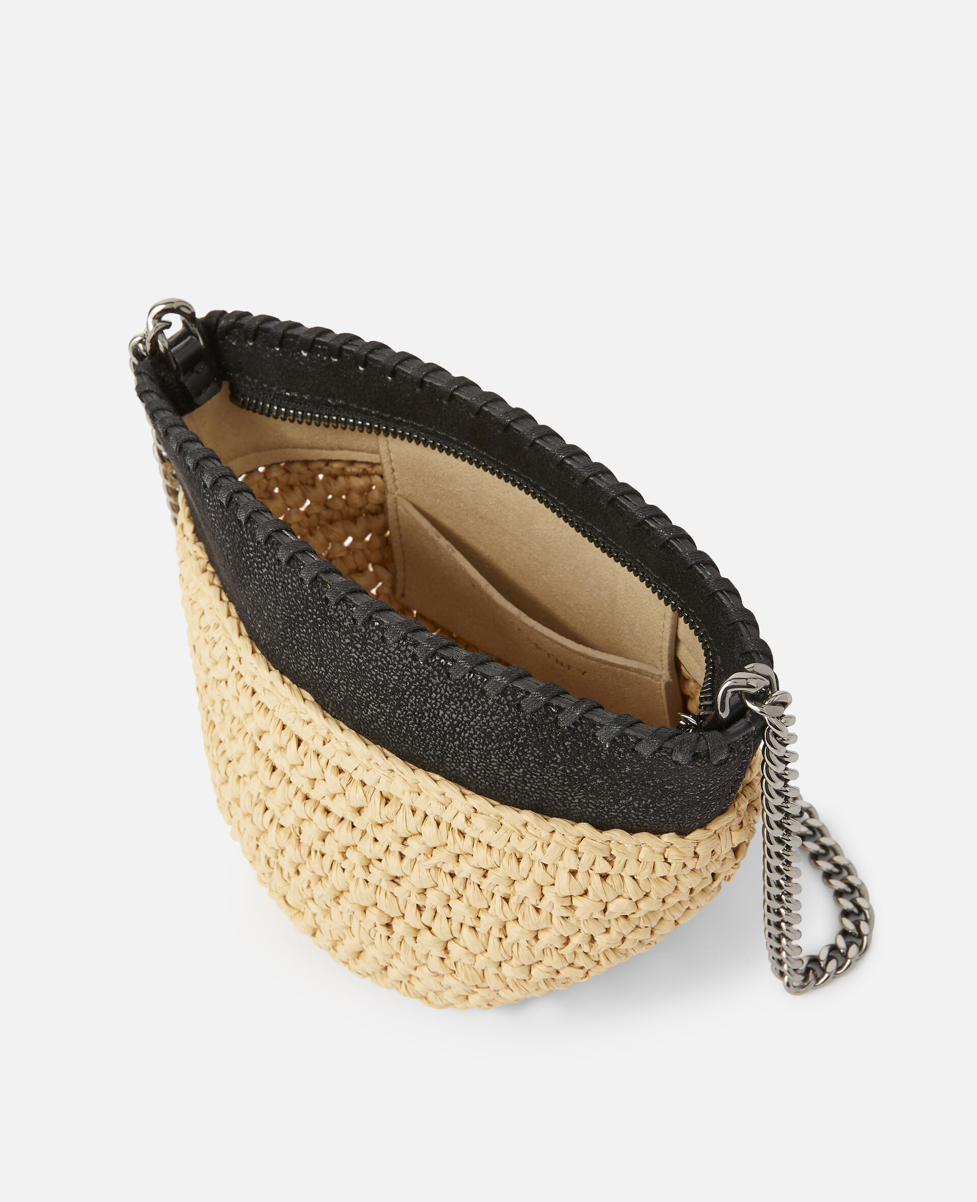 Falabella Raffia Mini Shoulder Bag  -Black-large image number 3