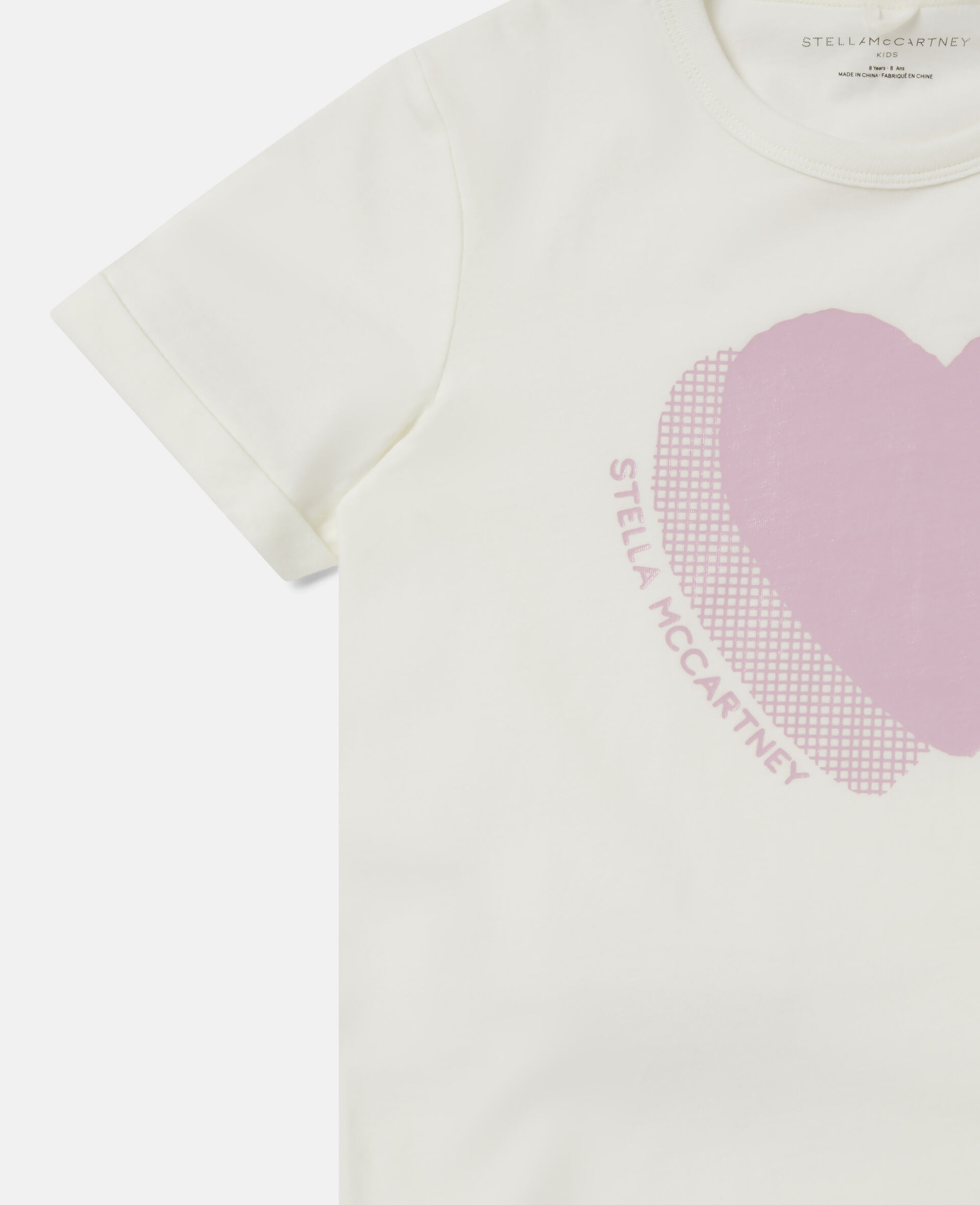 Heart Logo Cotton T-shirt -White-large image number 2