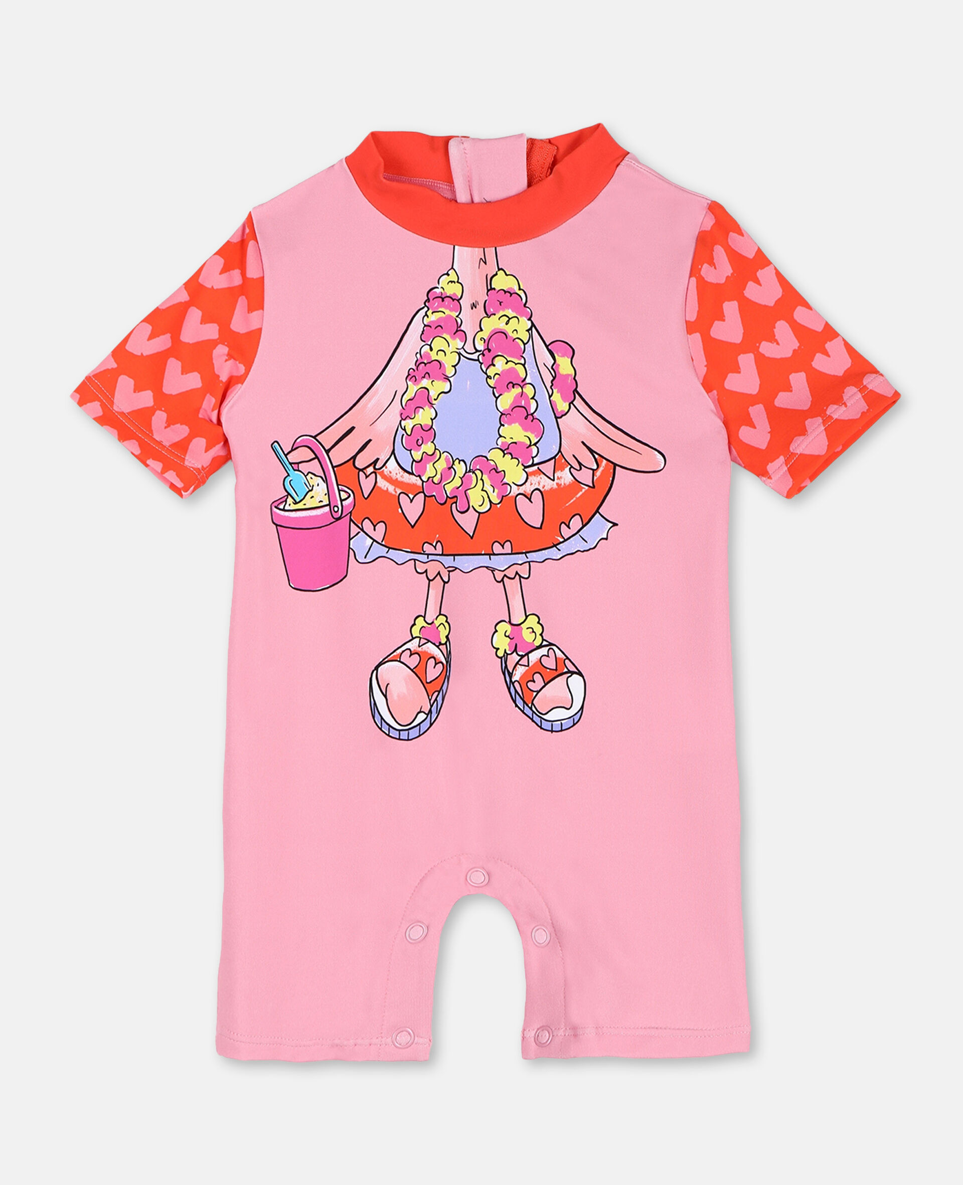 Trompe-L'Oeil Flamingo Swim Jumpsuit -Pink-large image number 0