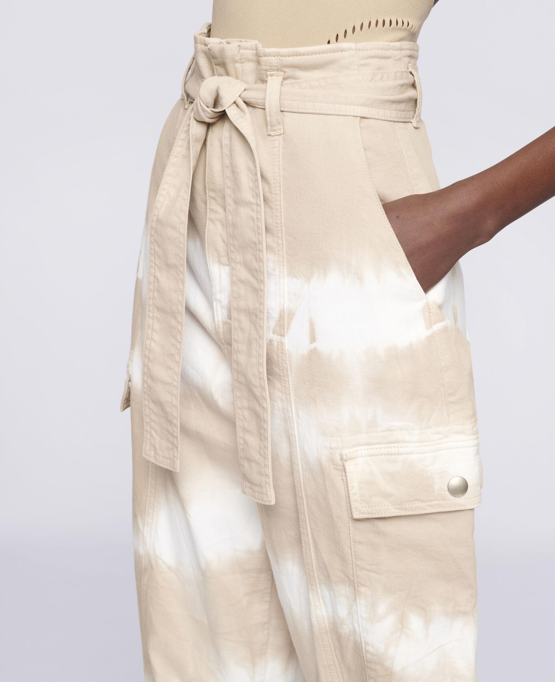 Tie-Dye Denim Trousers-Beige-large image number 3