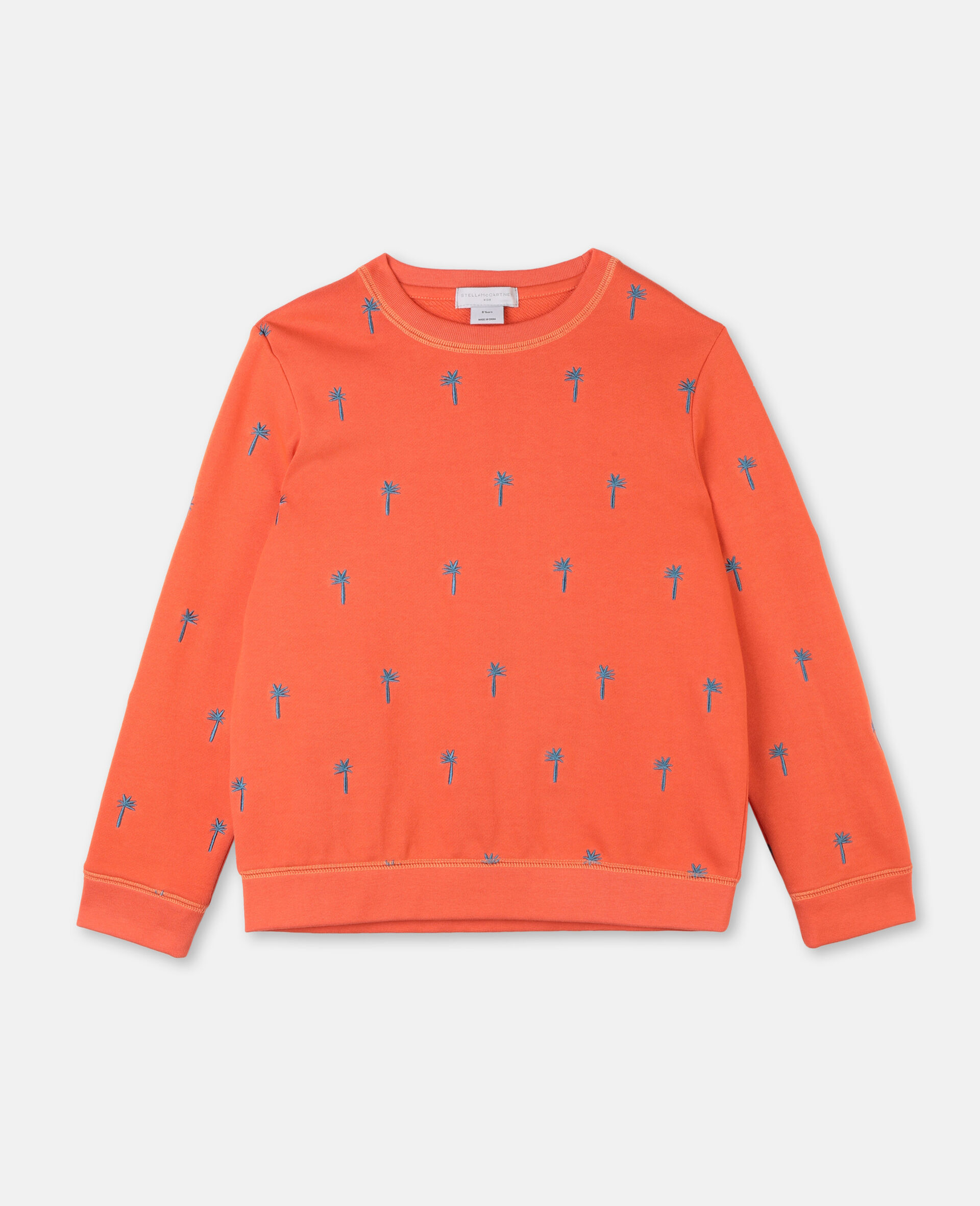 Embroidered Palm Cotton Sweatshirt -Red-large image number 0