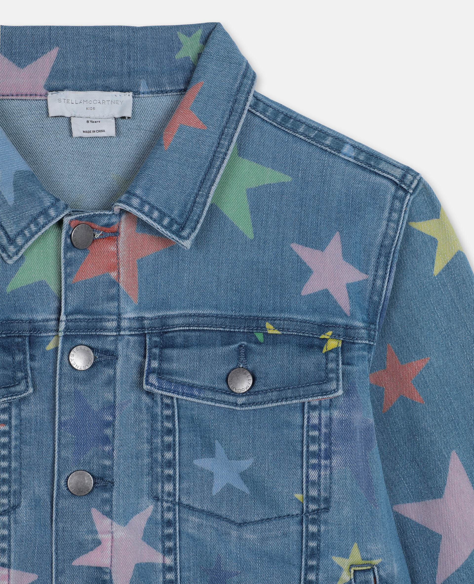 Multicolour Stars Denim Jacket -Multicolour-large image number 1