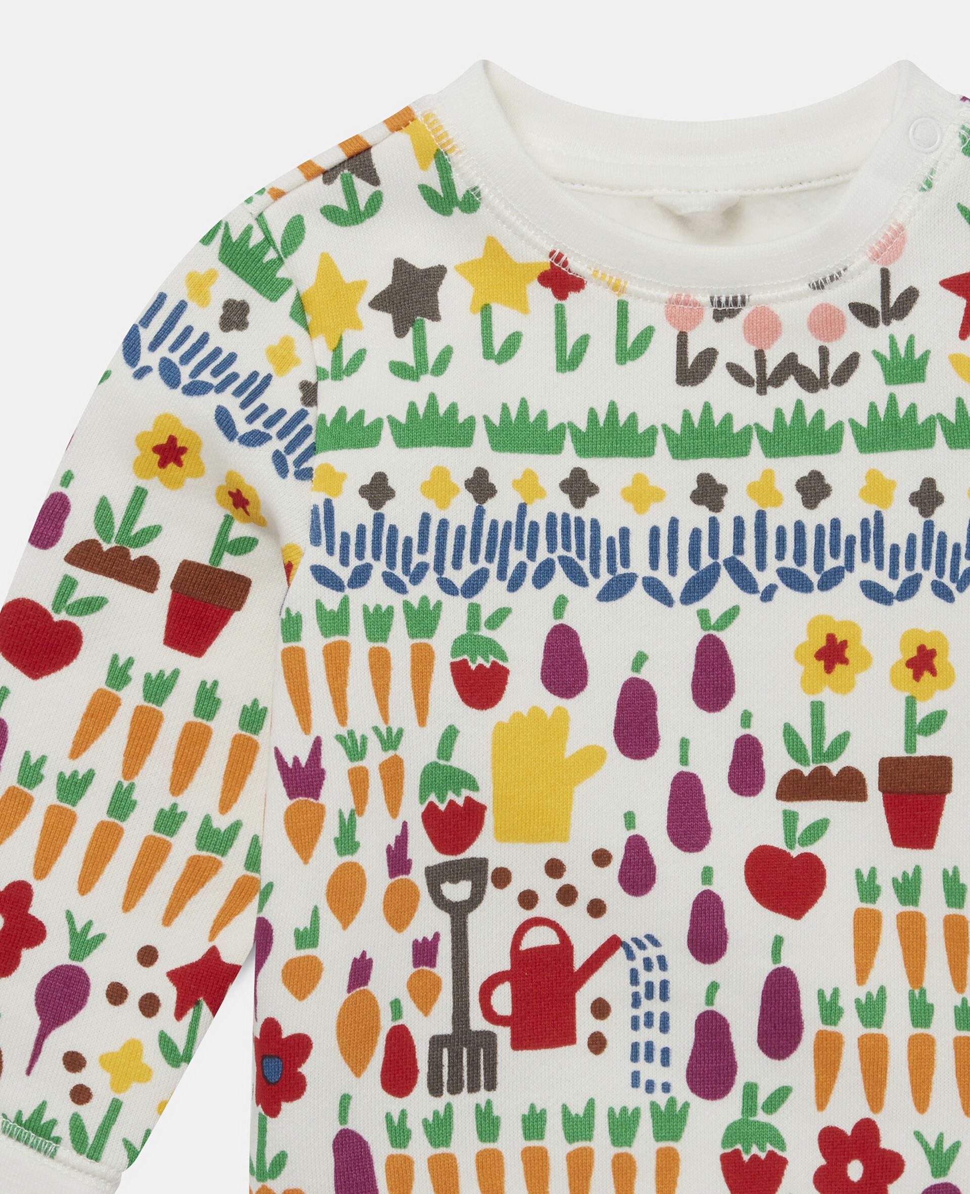 Sweatshirt aus Fleece mit Garten-Print-Weiß-large image number 1
