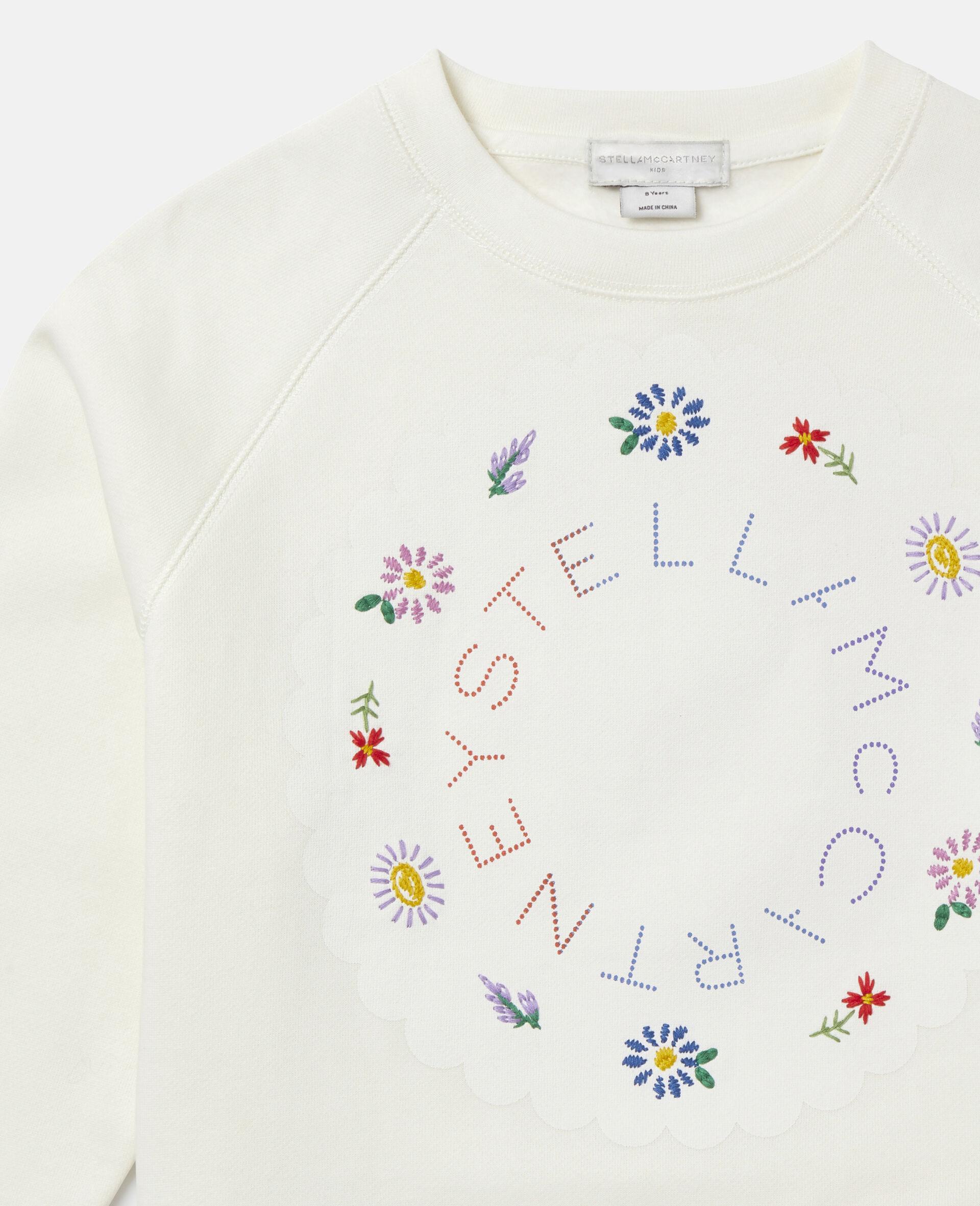 Übergroßes Baumwollfleece-Sweatshirt mit Logo-Weiß-large image number 1