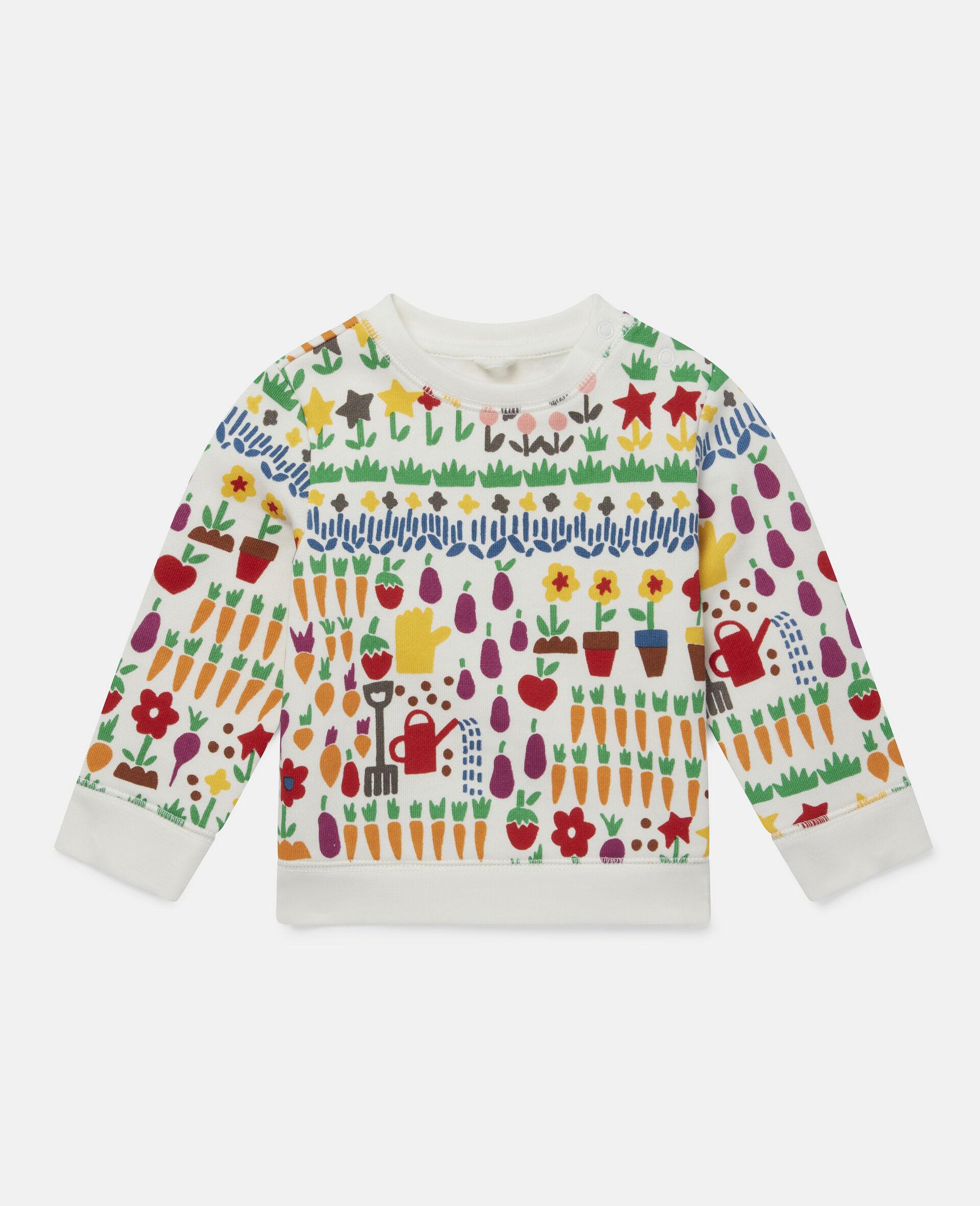 Sweatshirt aus Fleece mit Garten-Print-Weiß-large image number 0