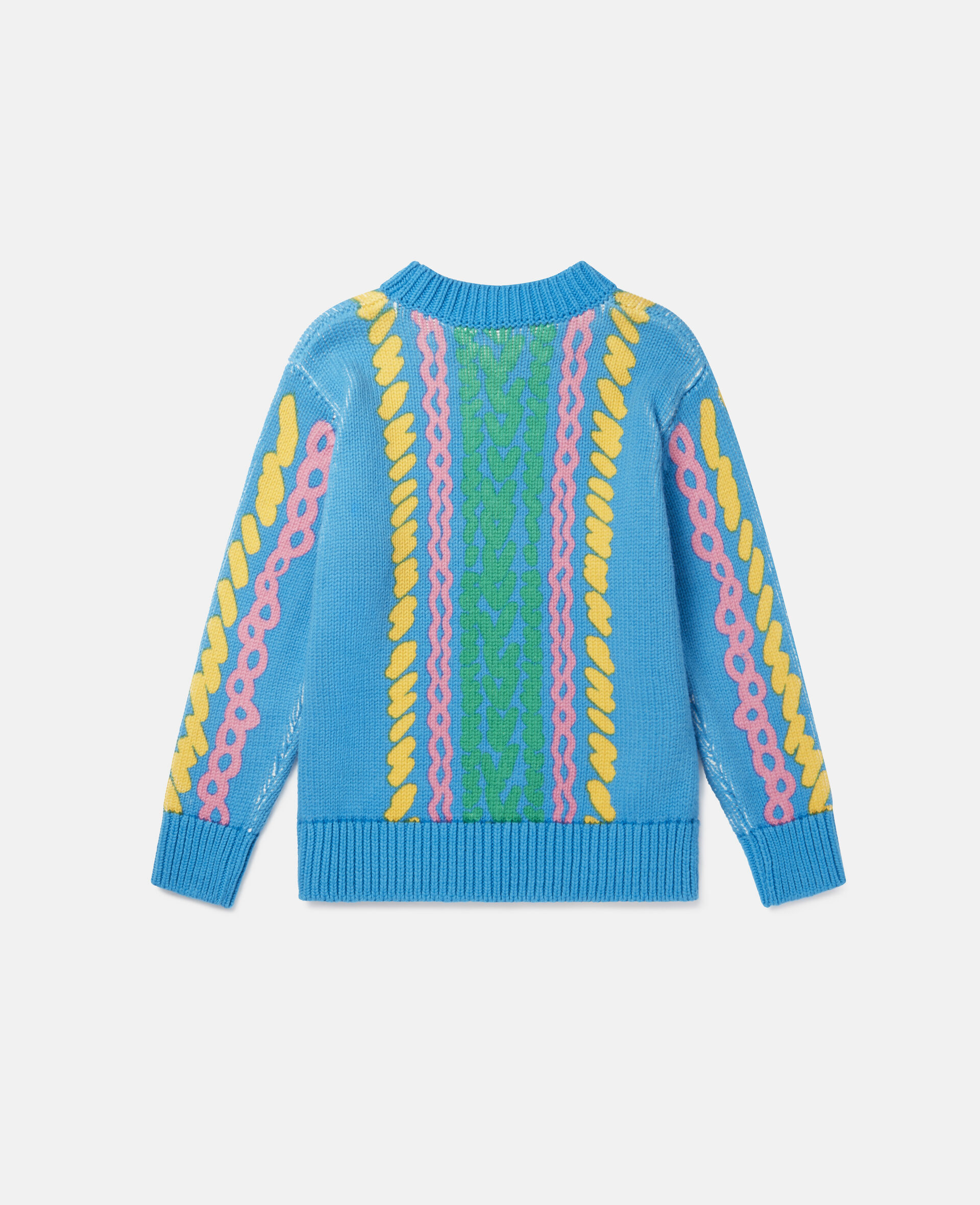 Comic Bubbles Oversized Knit Sweater-Blue-large image number 3