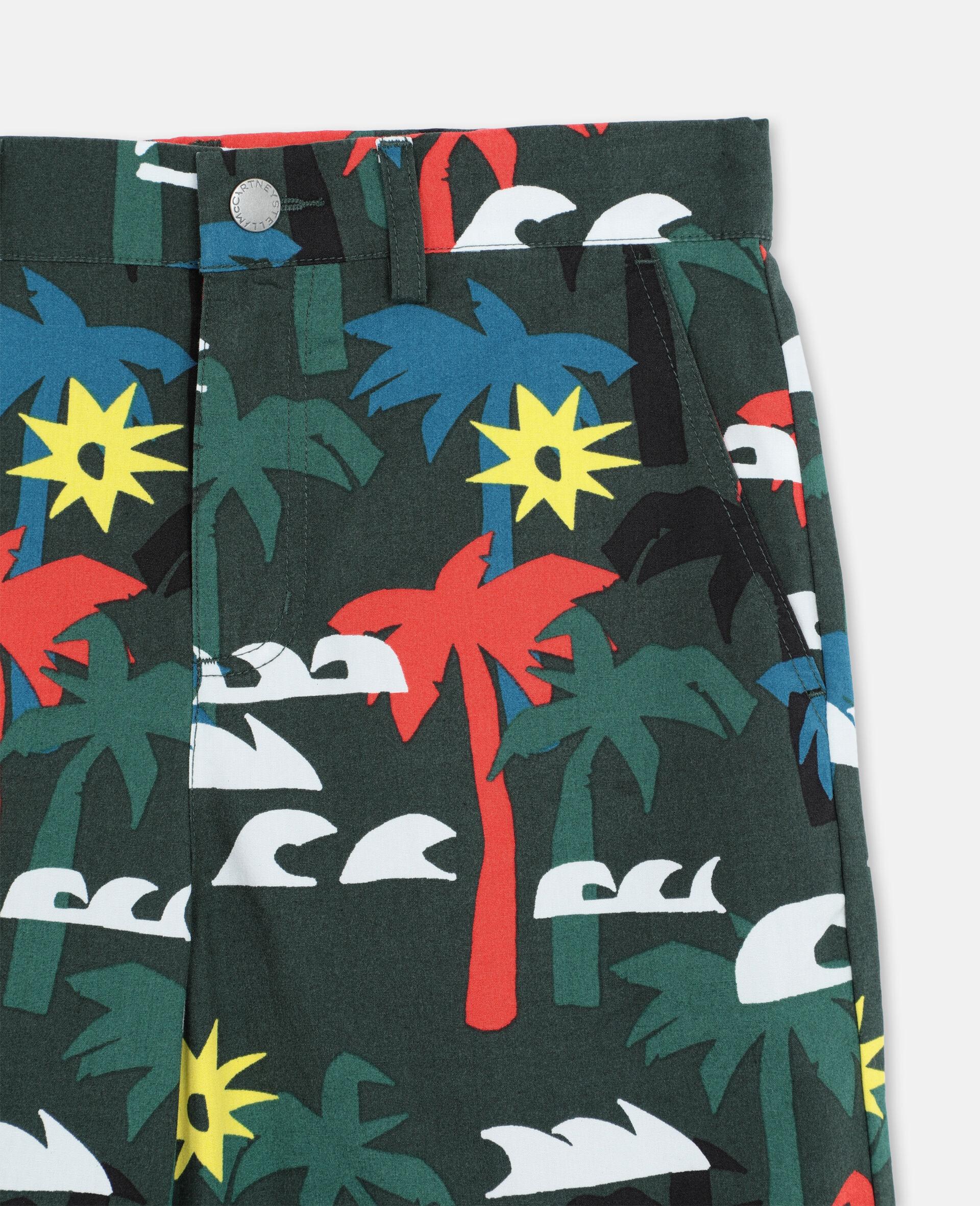 Multicolor Palm Cotton Shorts -Multicolour-large image number 1