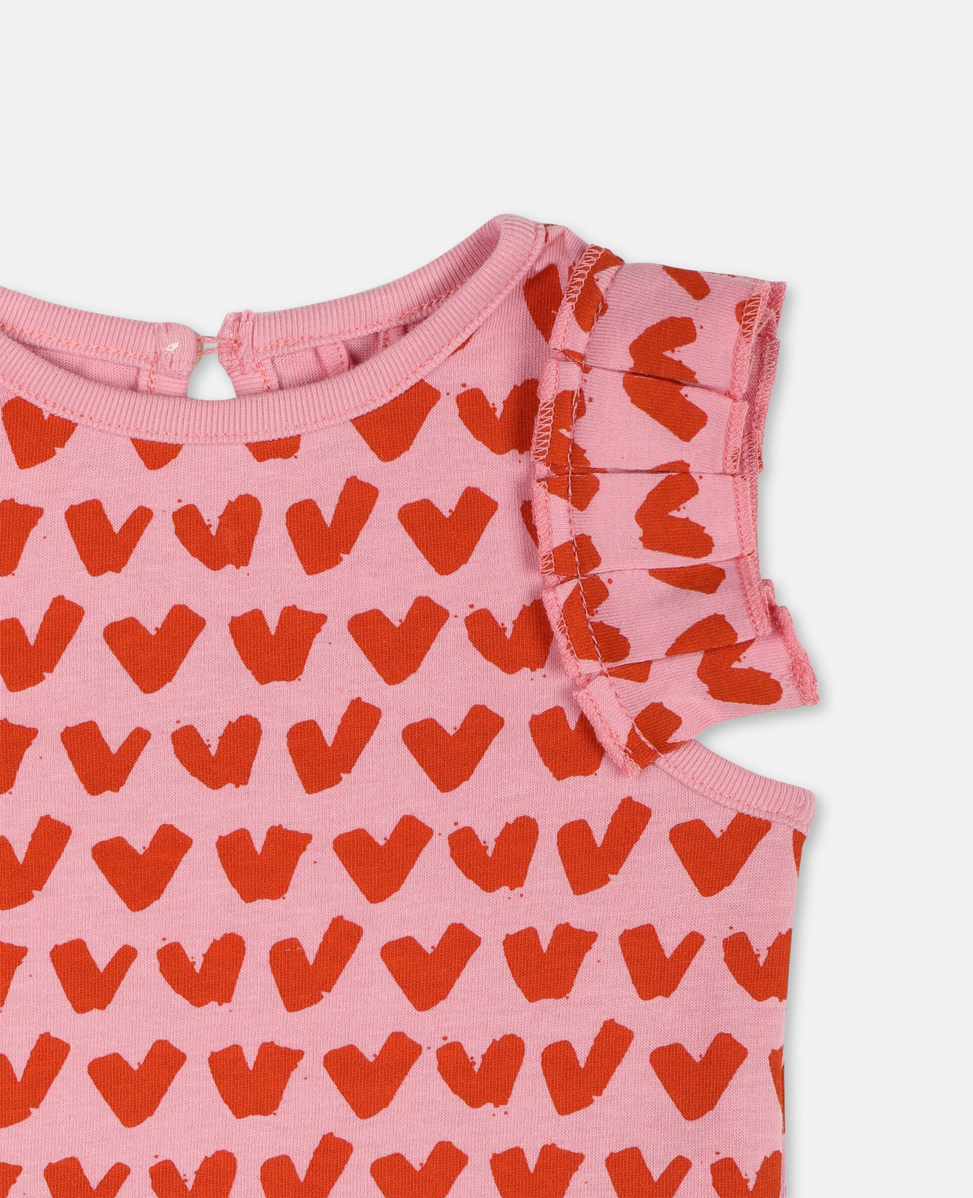 Hearts Cotton T-shirt-Pink-large image number 1