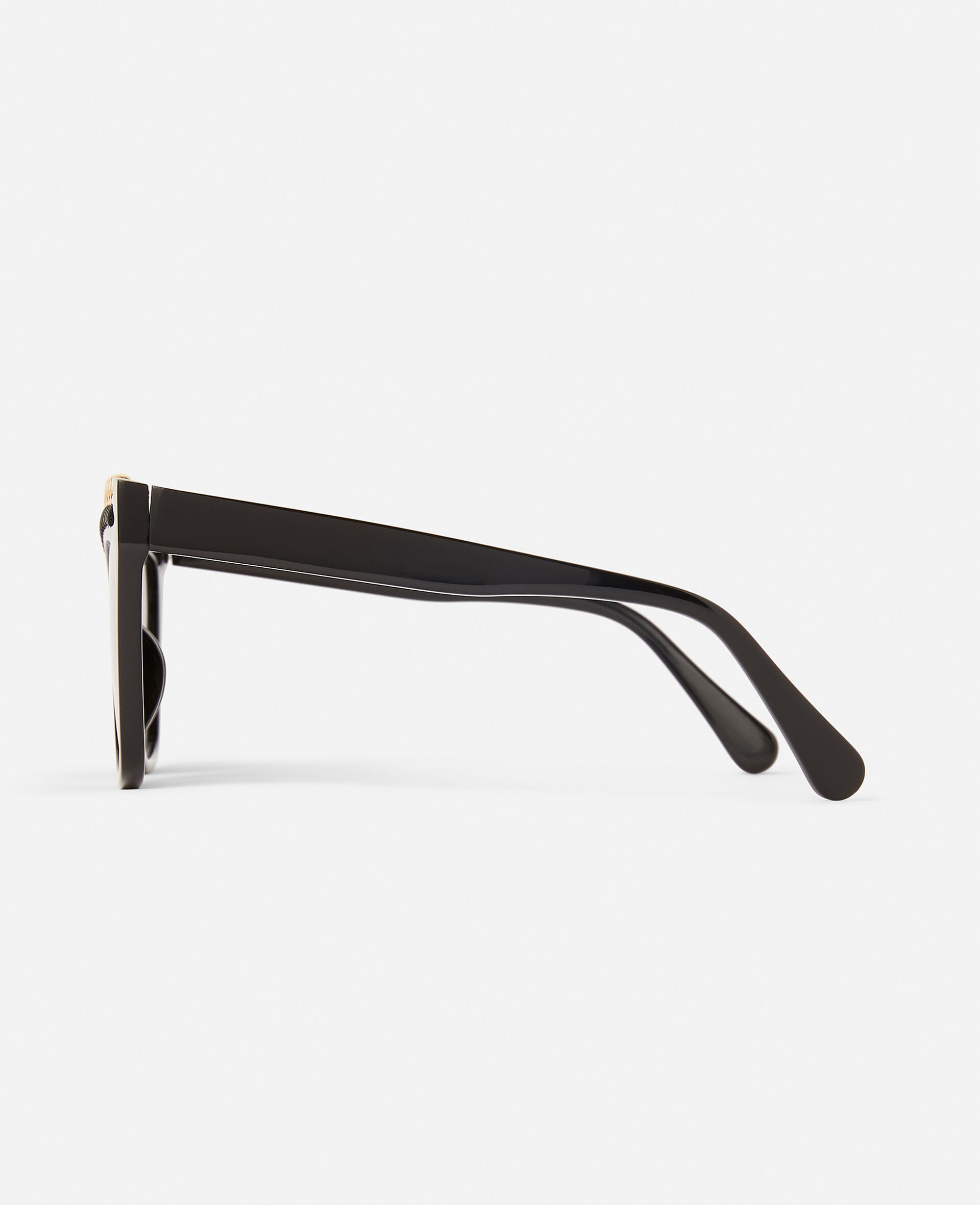 Shiny Black Square Sunglasses-Black-large image number 6