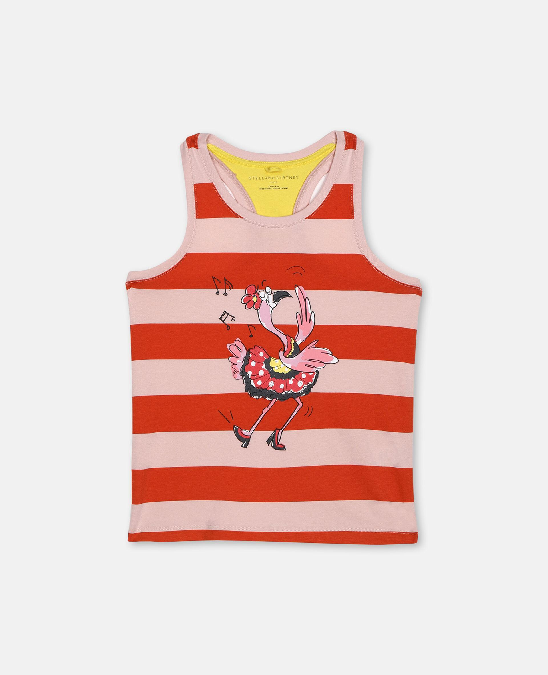 Dancing Flamingo Striped Vest -Pink-large image number 0