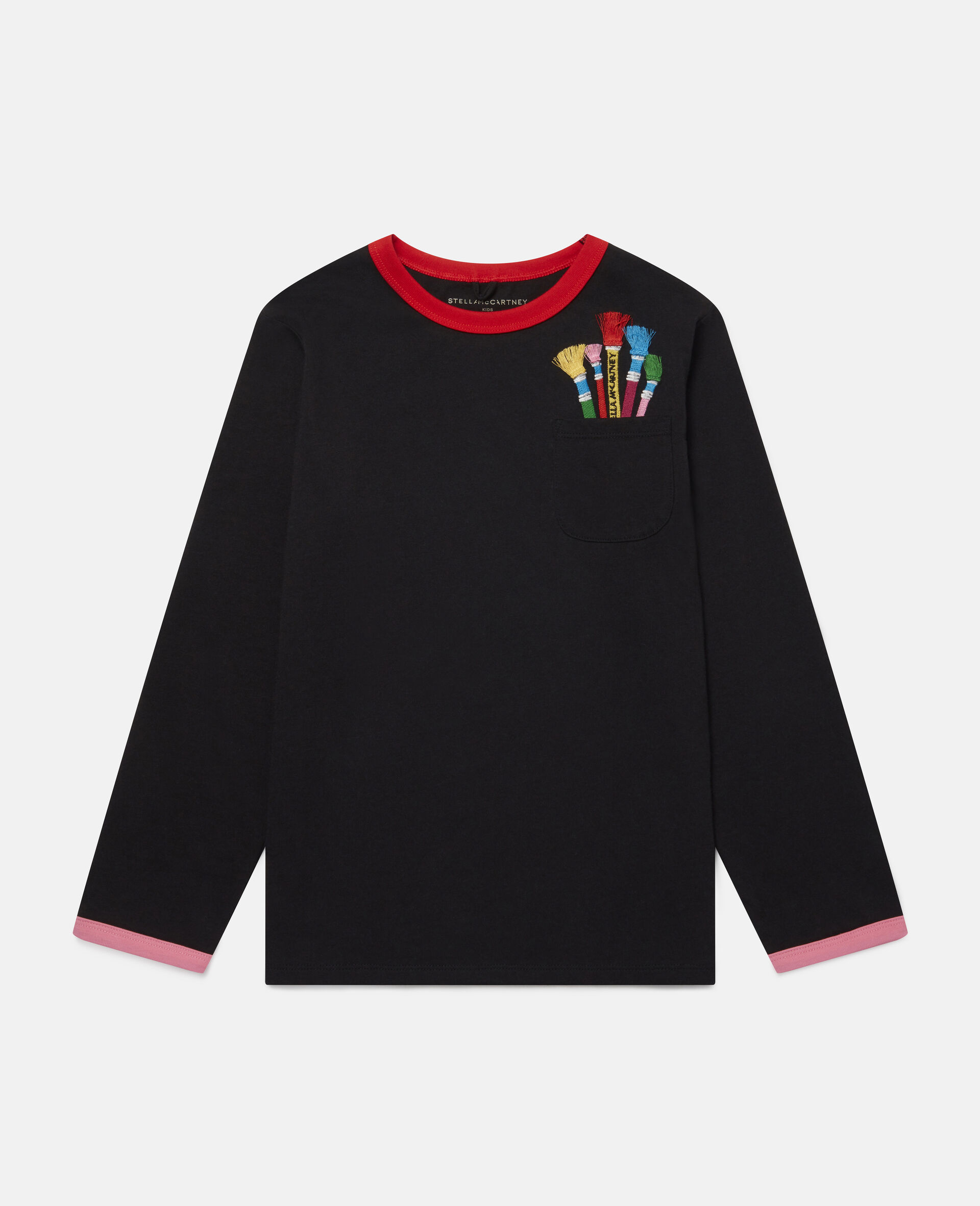 Embroidered Paintbrushes Oversize Top -Black-large image number 0