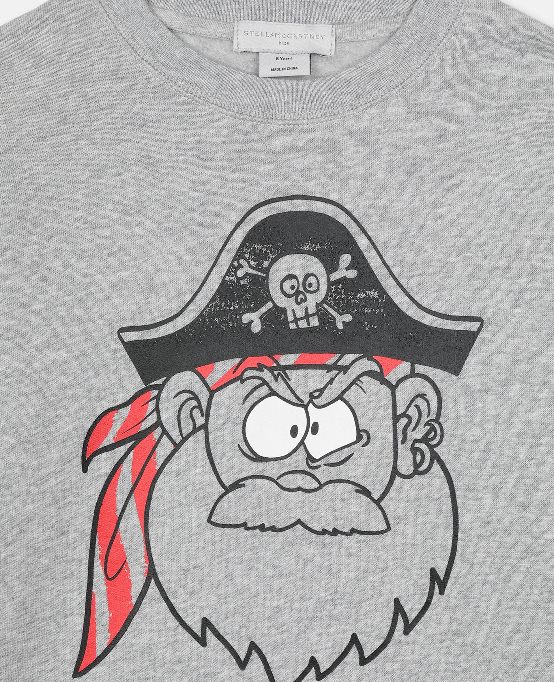 Baumwollsweatshirt mit Piraten-Print -Grau-large image number 1