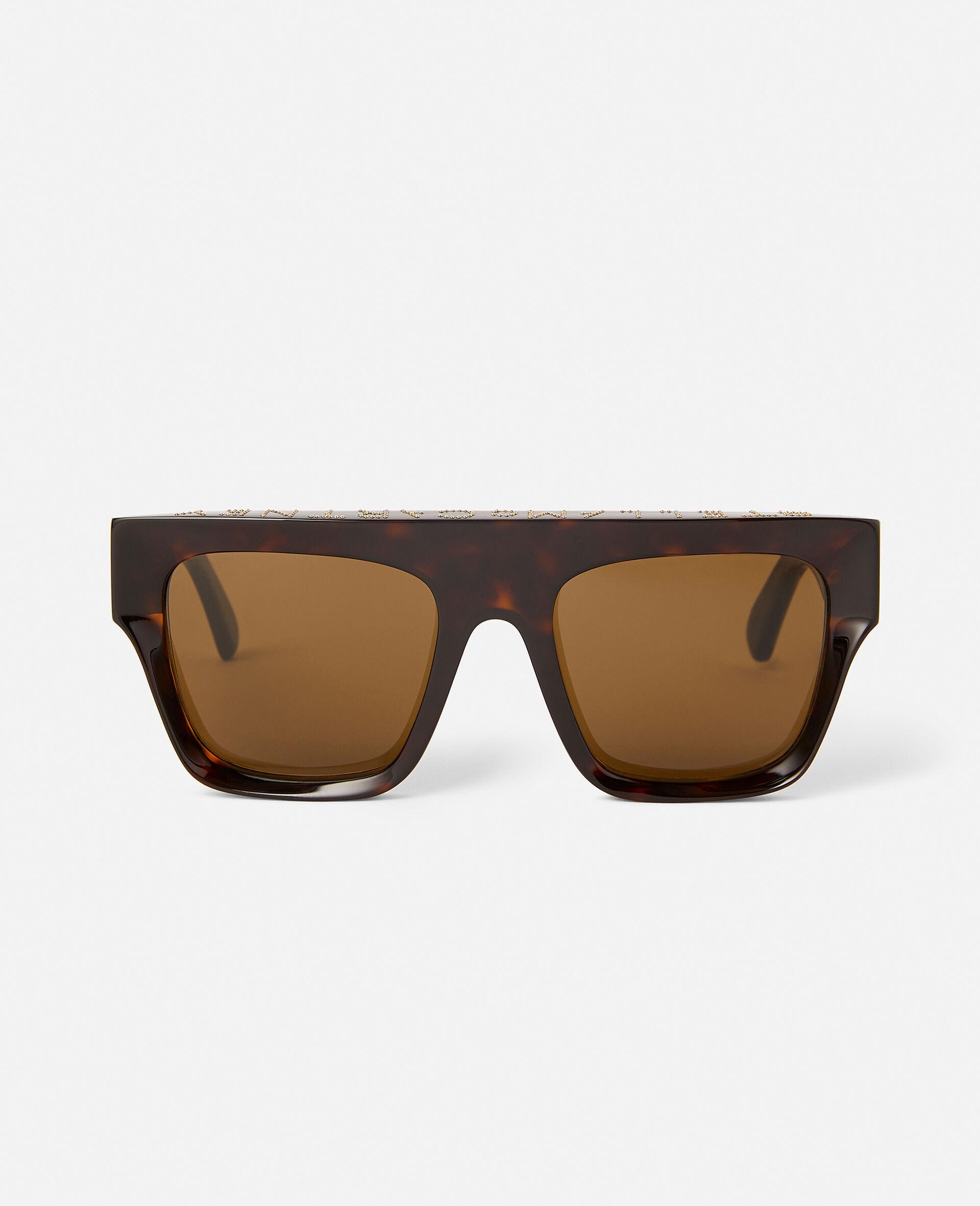 Glänzend schwarze Sonnenbrille mit eckiger Fassung-Schwarz-large image number 0