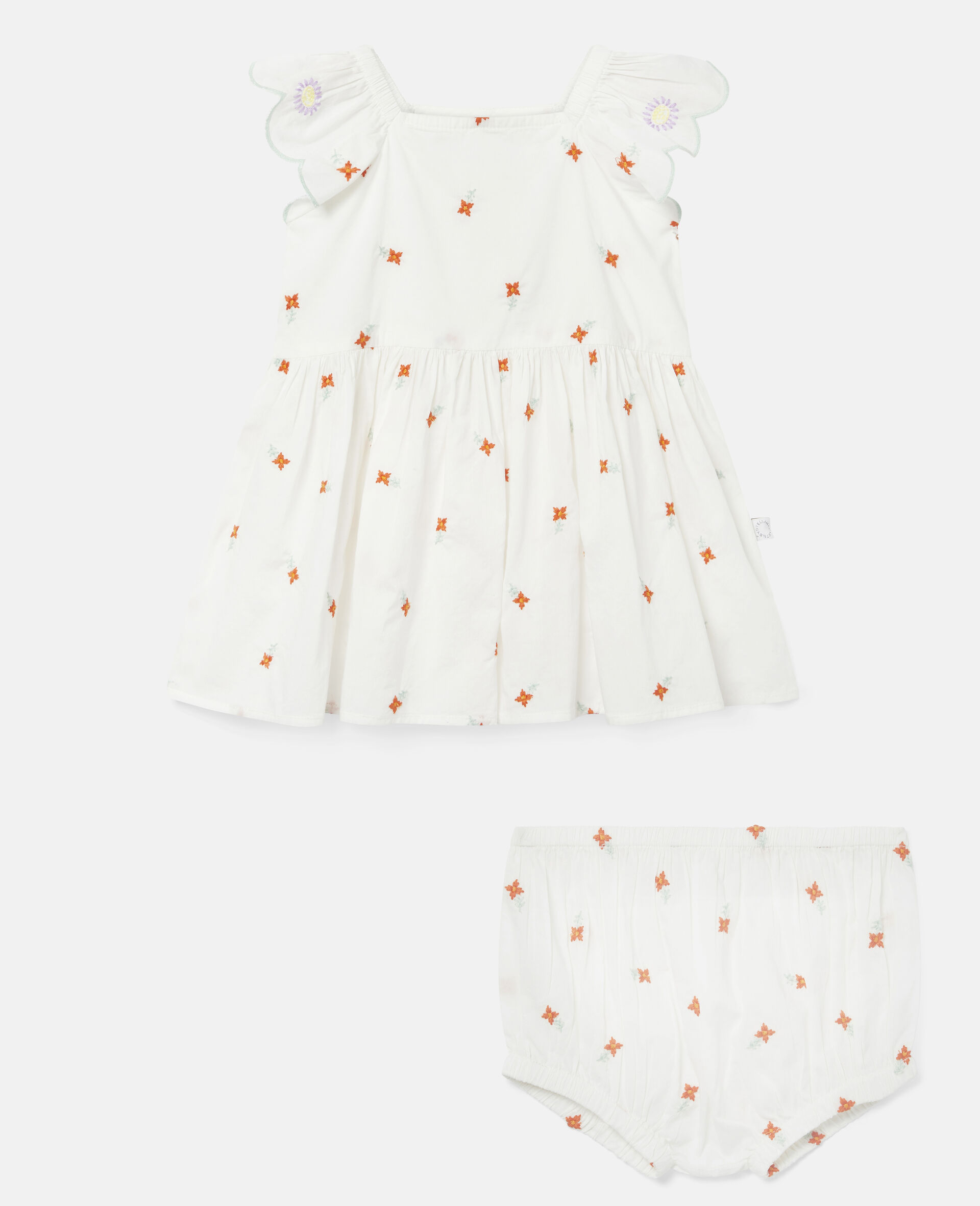 Embroidered Flowers Cotton Dress-White-large image number 0