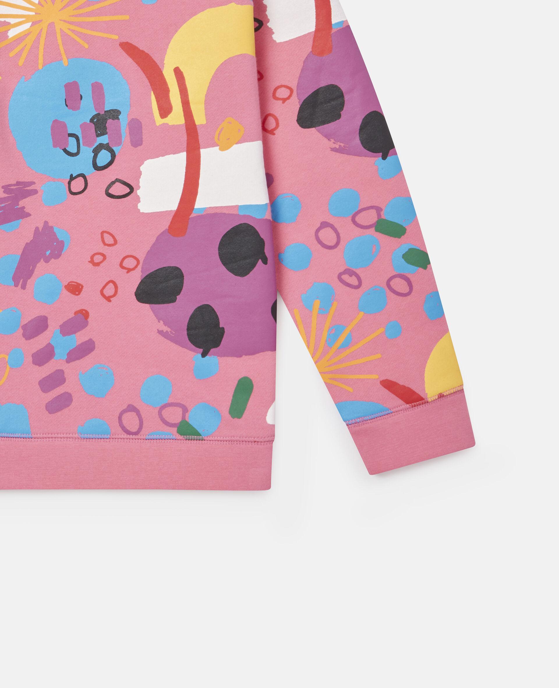 Sweatshirt aus Baumwollfleece mit Malerei-Print -Rose-large image number 2