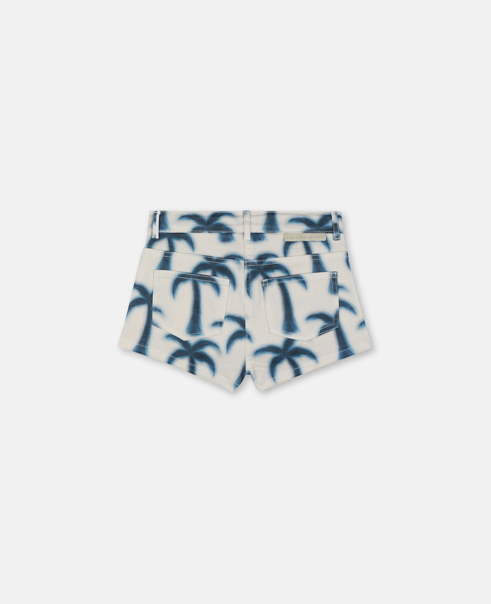 Palm Denim Shorts-Blue-large image number 3