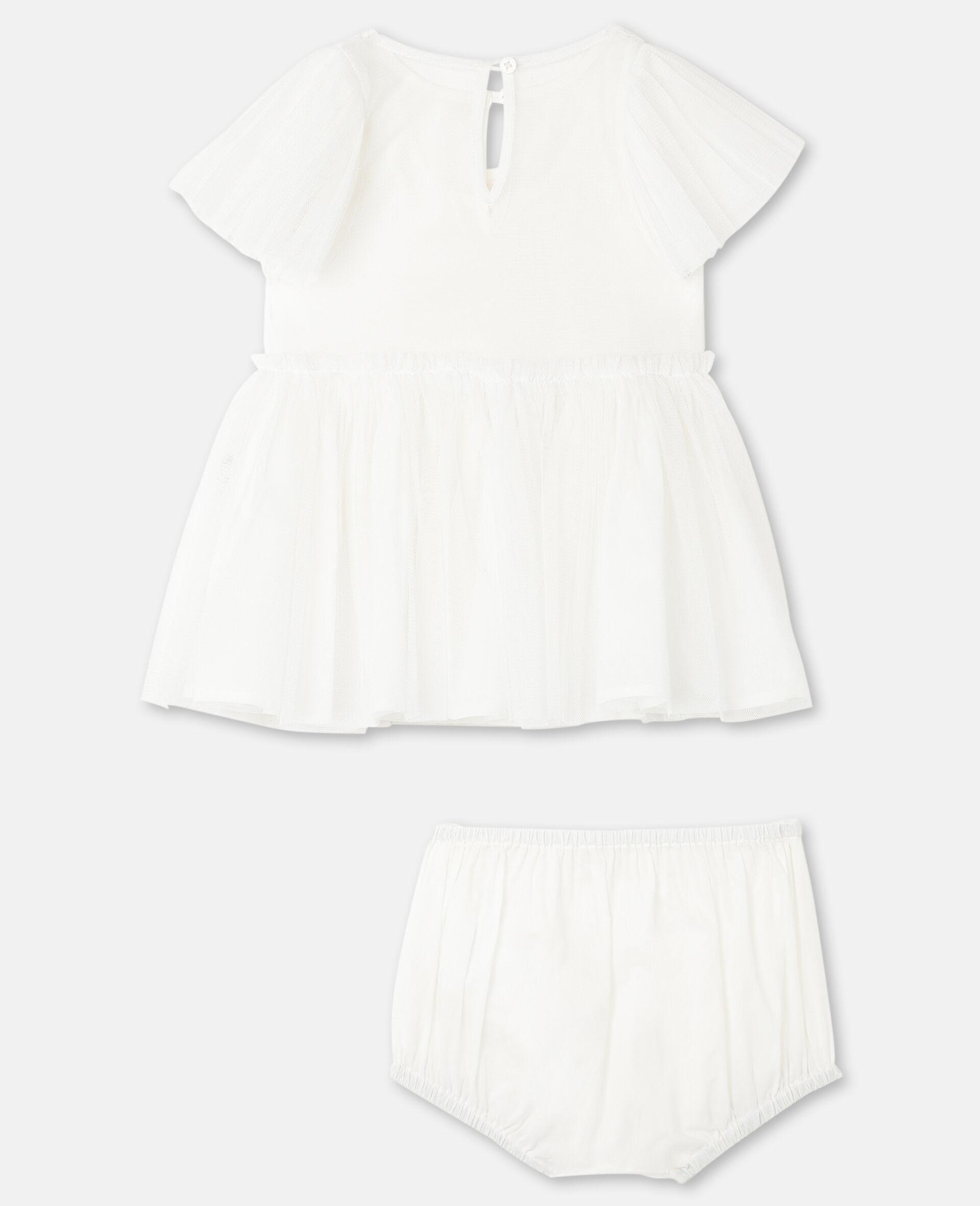 Kleid aus Tüll mit Schmetterling-Aufnäher -Weiß-large image number 3