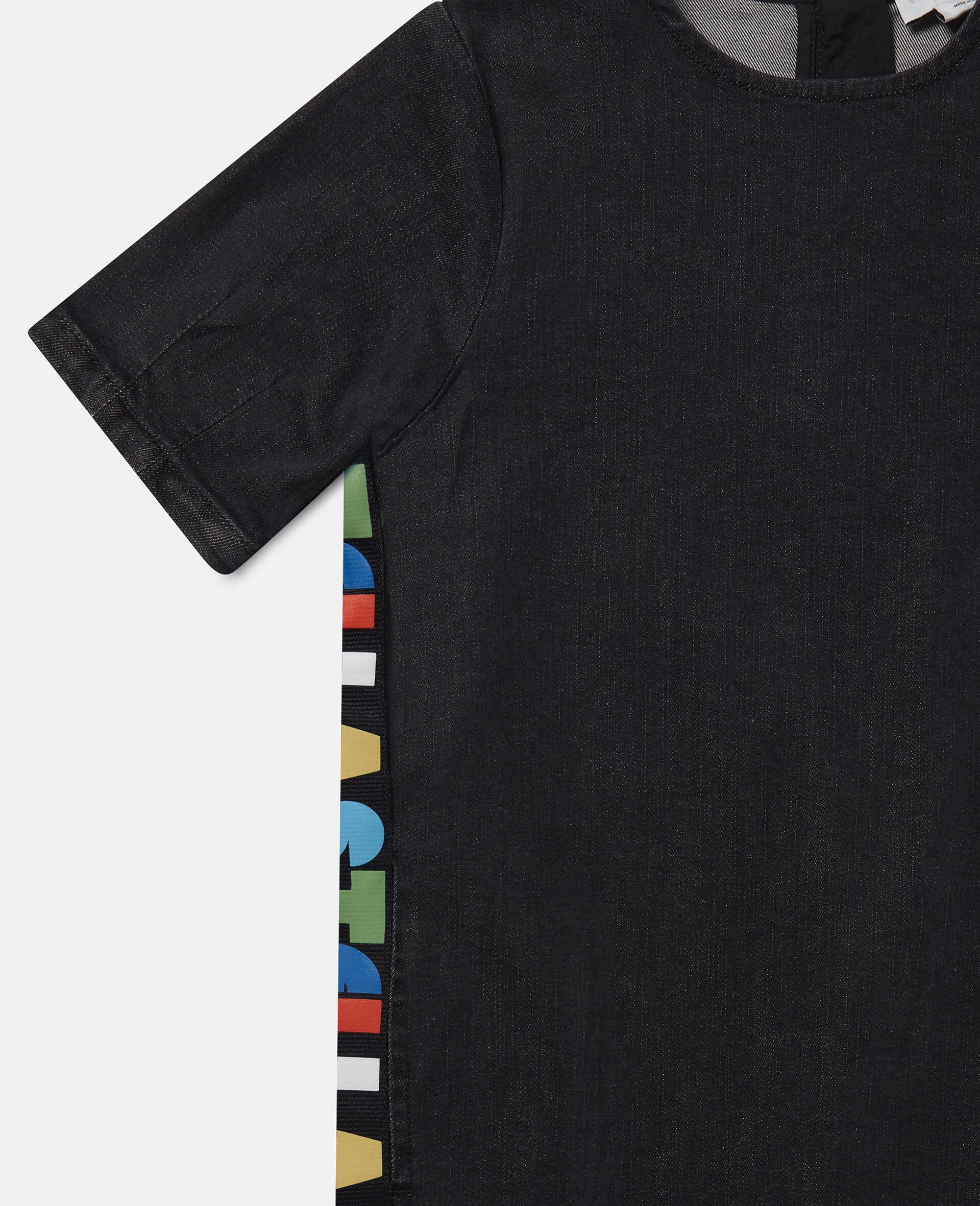 Logo Denim Dress-Black-large image number 1
