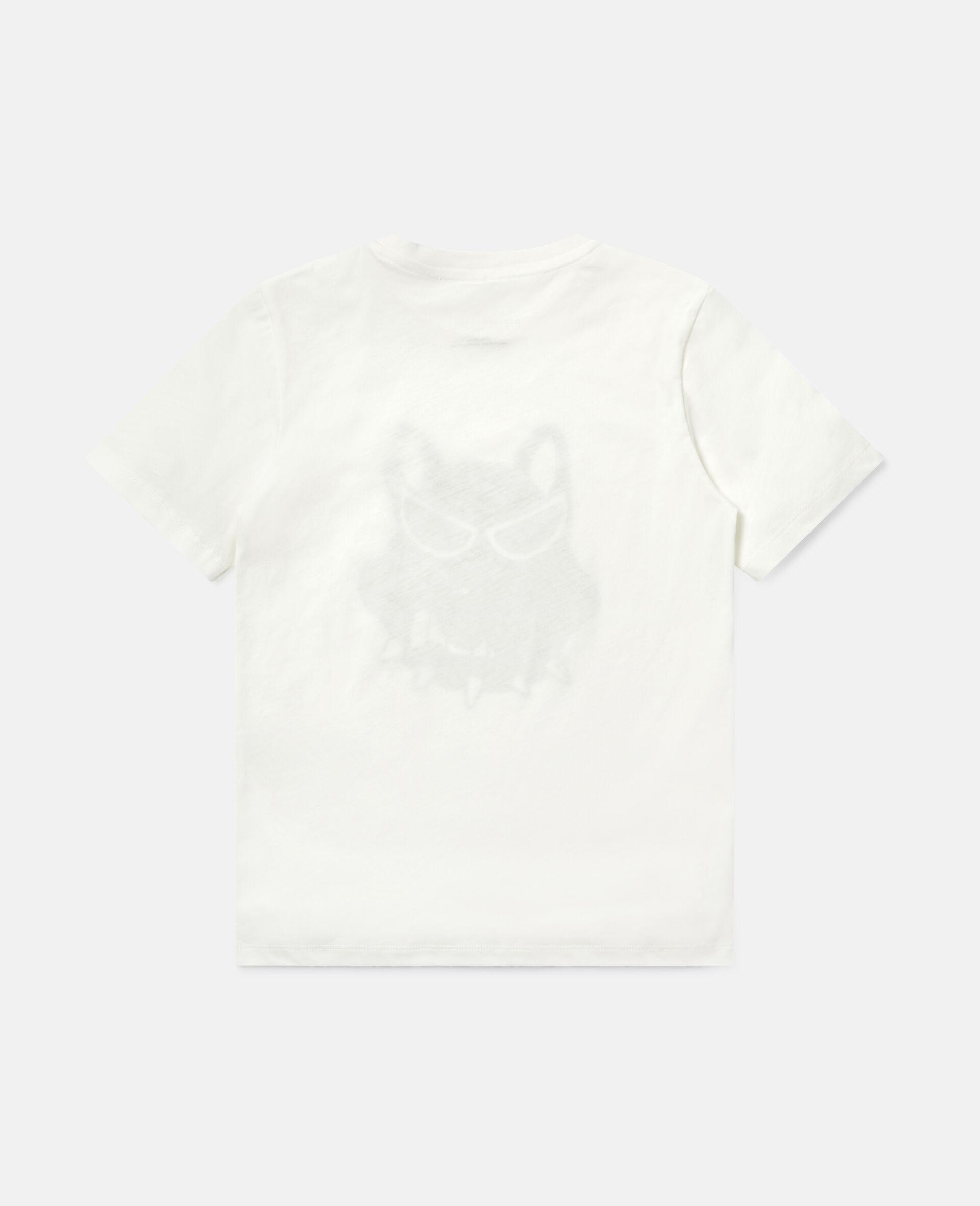 T-shirt en coton imprimé bulldog-Blanc-large image number 3