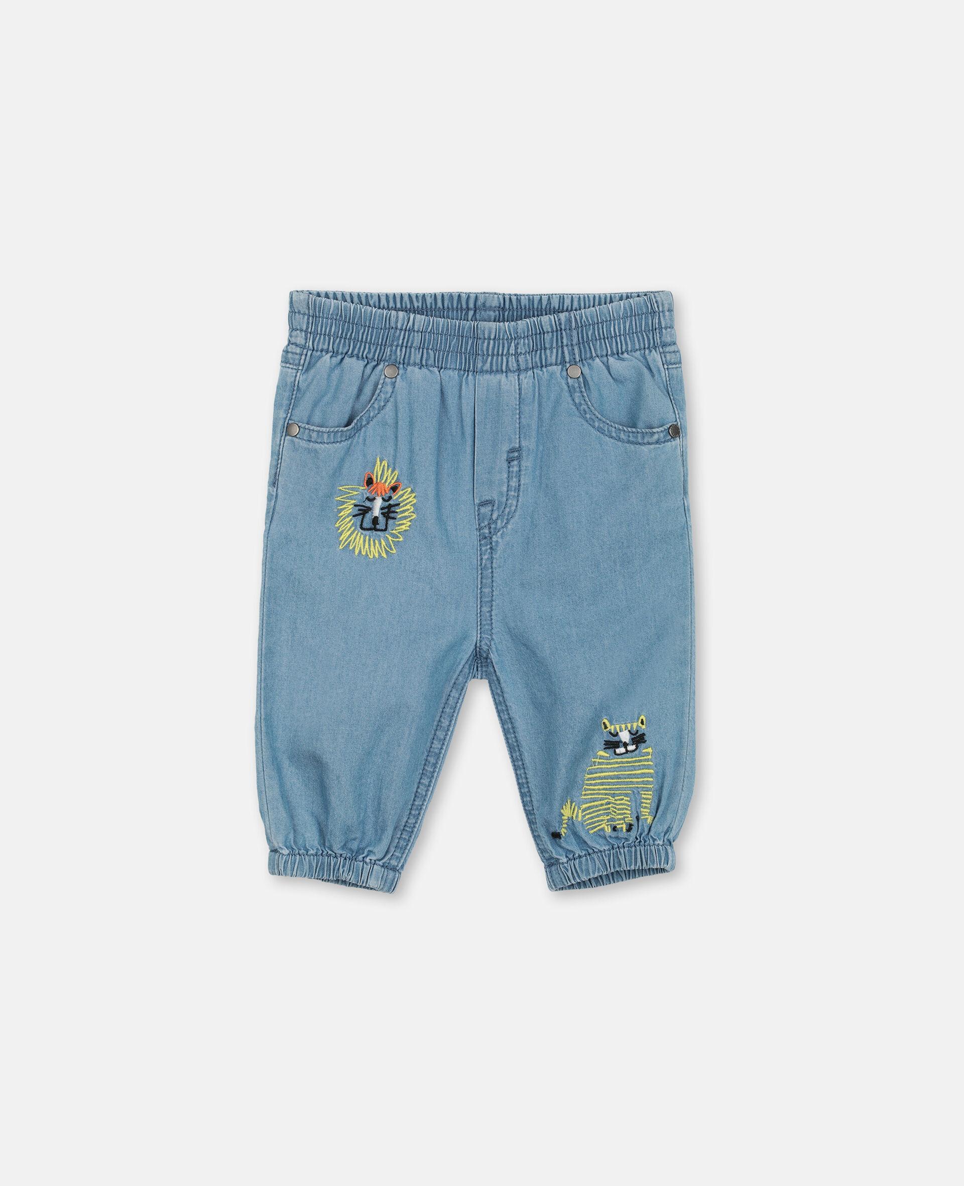 Pantaloni in Chambray con Gatti Ricamati-Blu-large image number 0