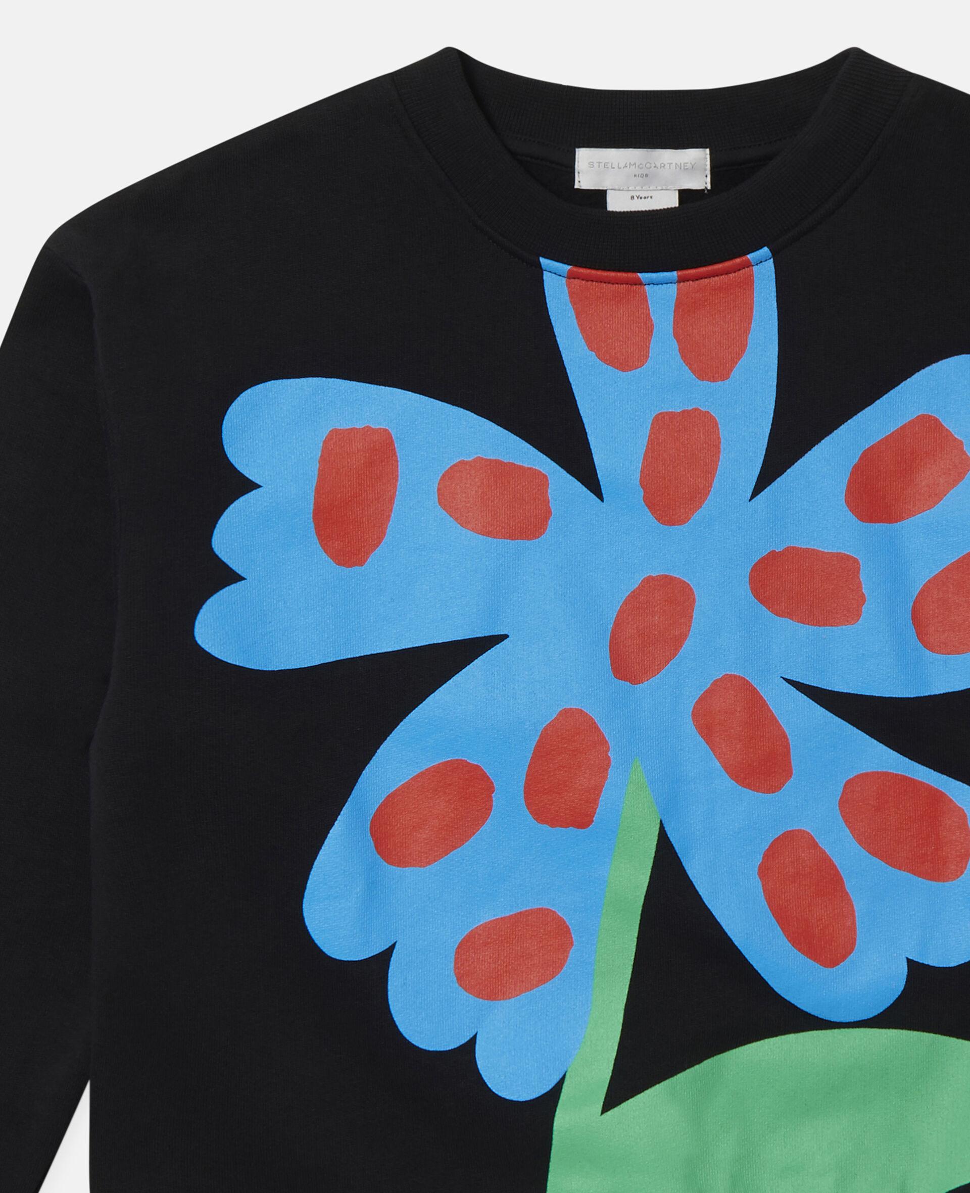 Übergroßes Sweatshirt aus Baumwollfleece mit gepunkteter Blume-Schwarz-large image number 1