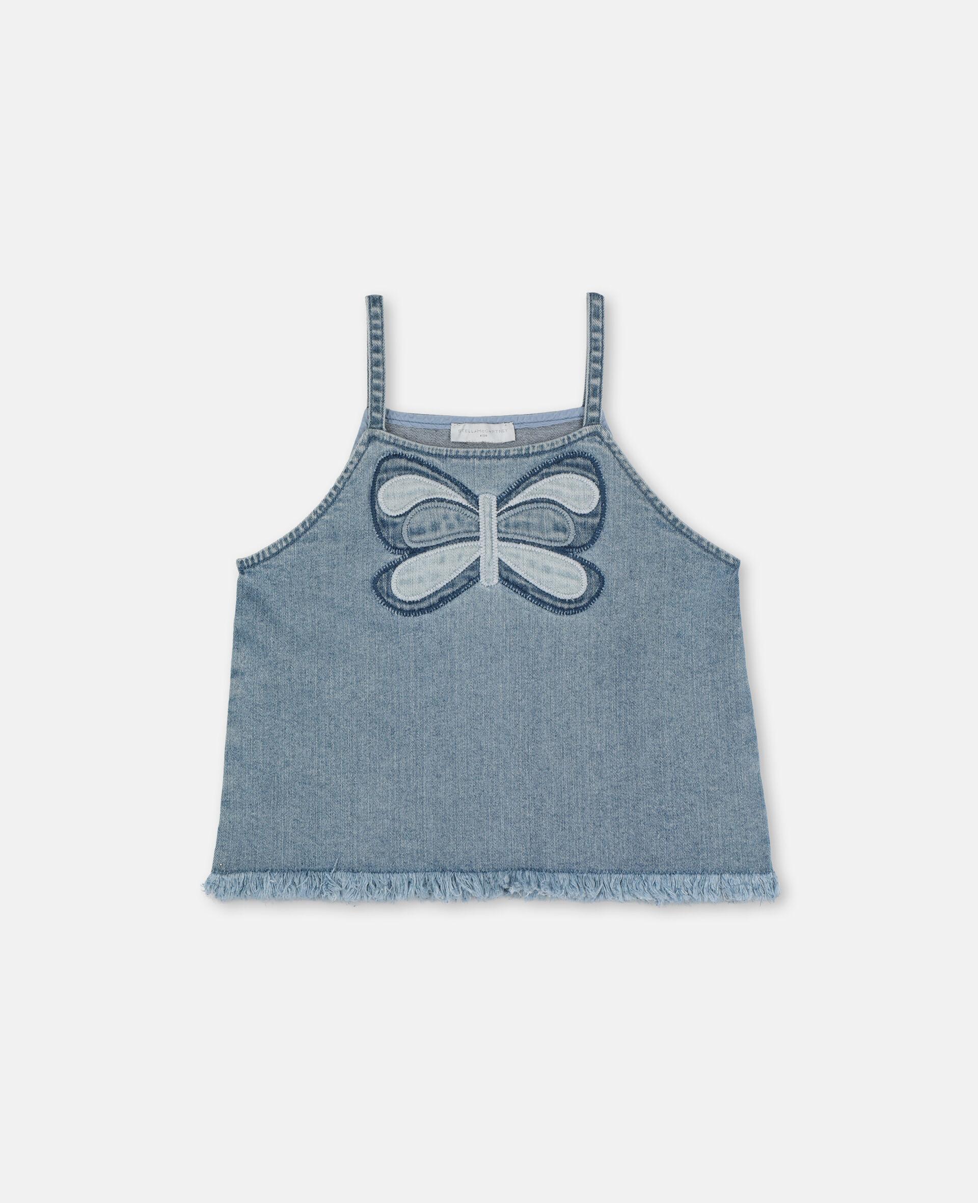 Top en denim avec papillon-Bleu-large image number 0