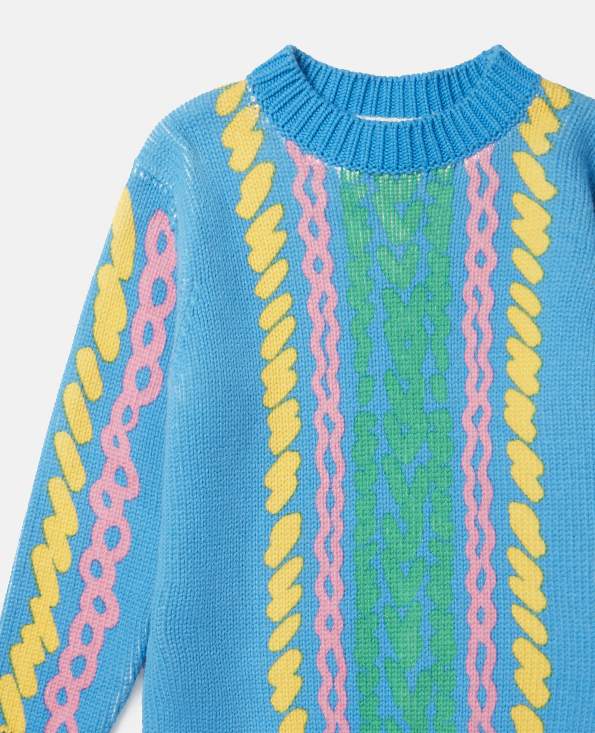 Comic Bubbles Oversized Knit Sweater-Blue-large image number 1