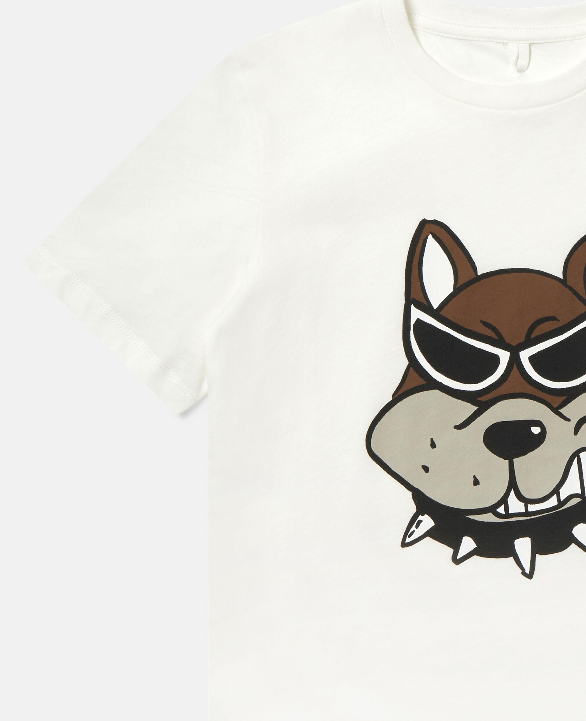 T-Shirt aus Baumwolle mit Bulldoggen-Print-Weiß-large image number 2