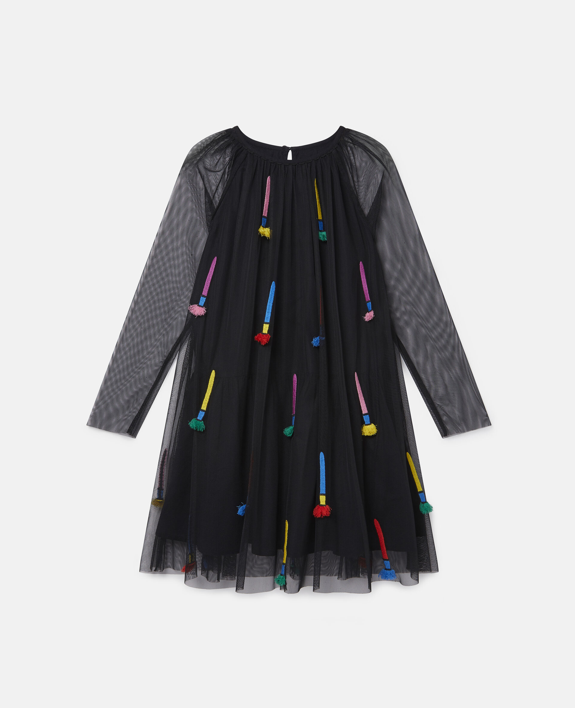 Embroidered Paintbrushes Tulle Dress-Black-large image number 0