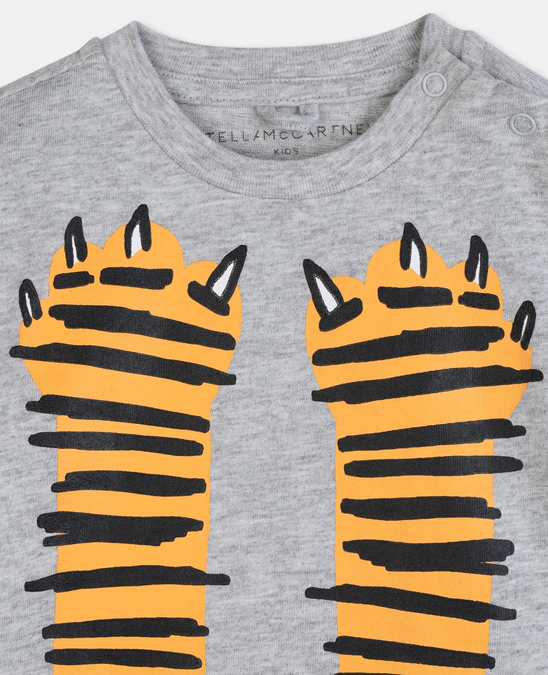 T-shirt en coton à motif pattes -Gris-large image number 2