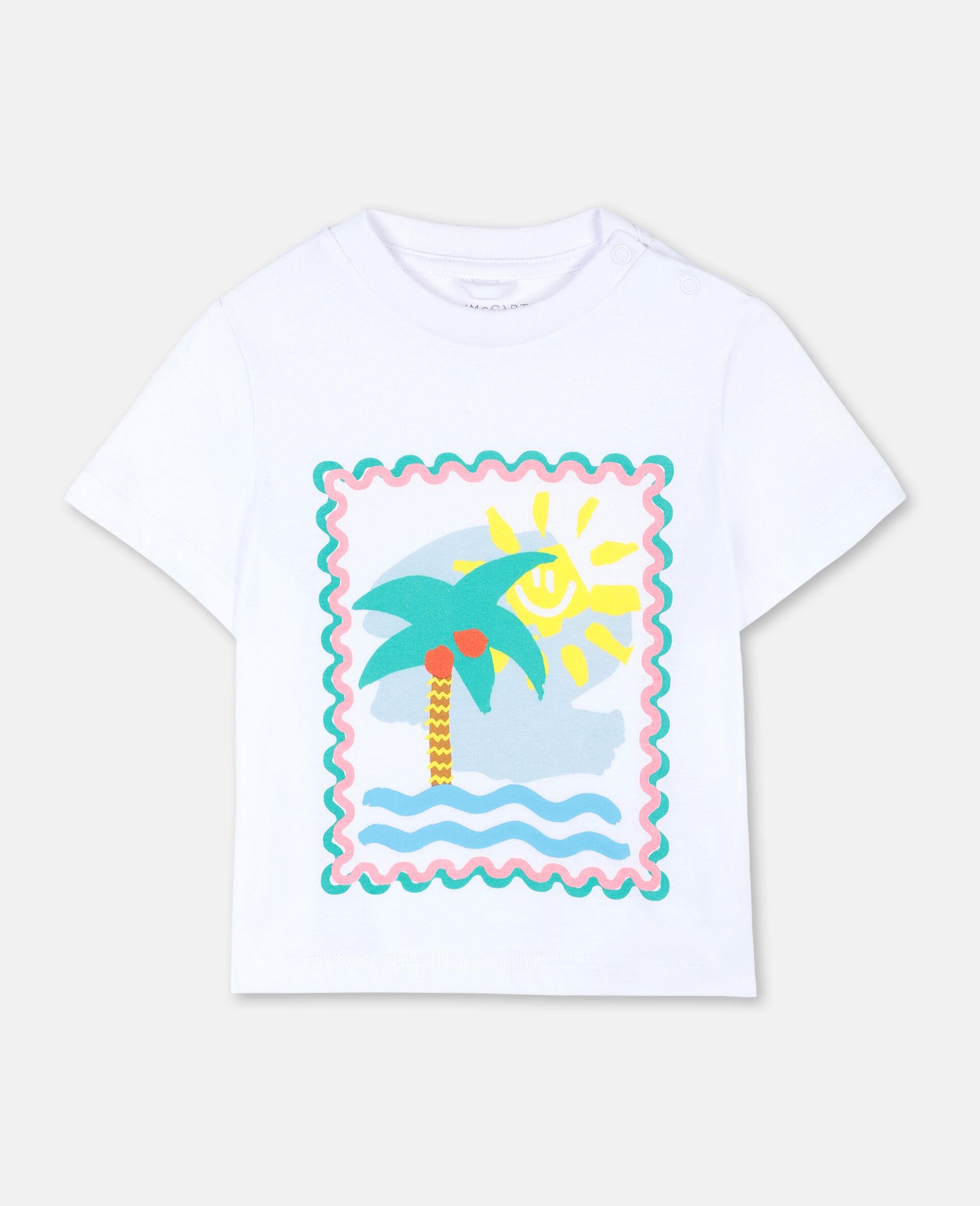 T-Shirt aus Baumwolle mit Postkarten-Print-Weiß-large image number 0