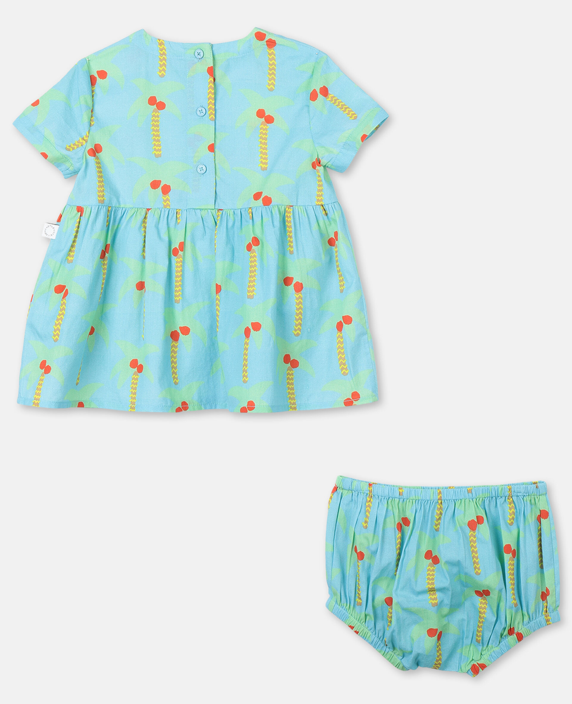 Palm Trees Cotton Dress-Green-large image number 3