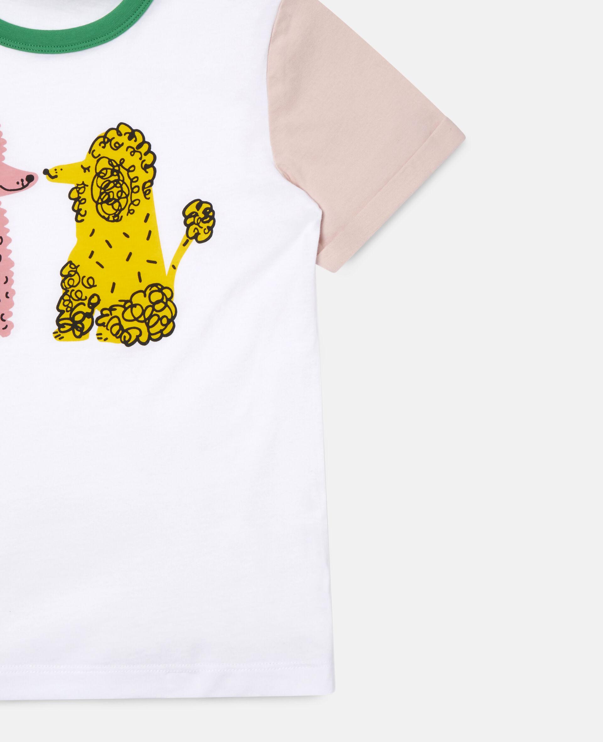T-shirt en coton motif caniches amoureux-Blanc-large image number 1