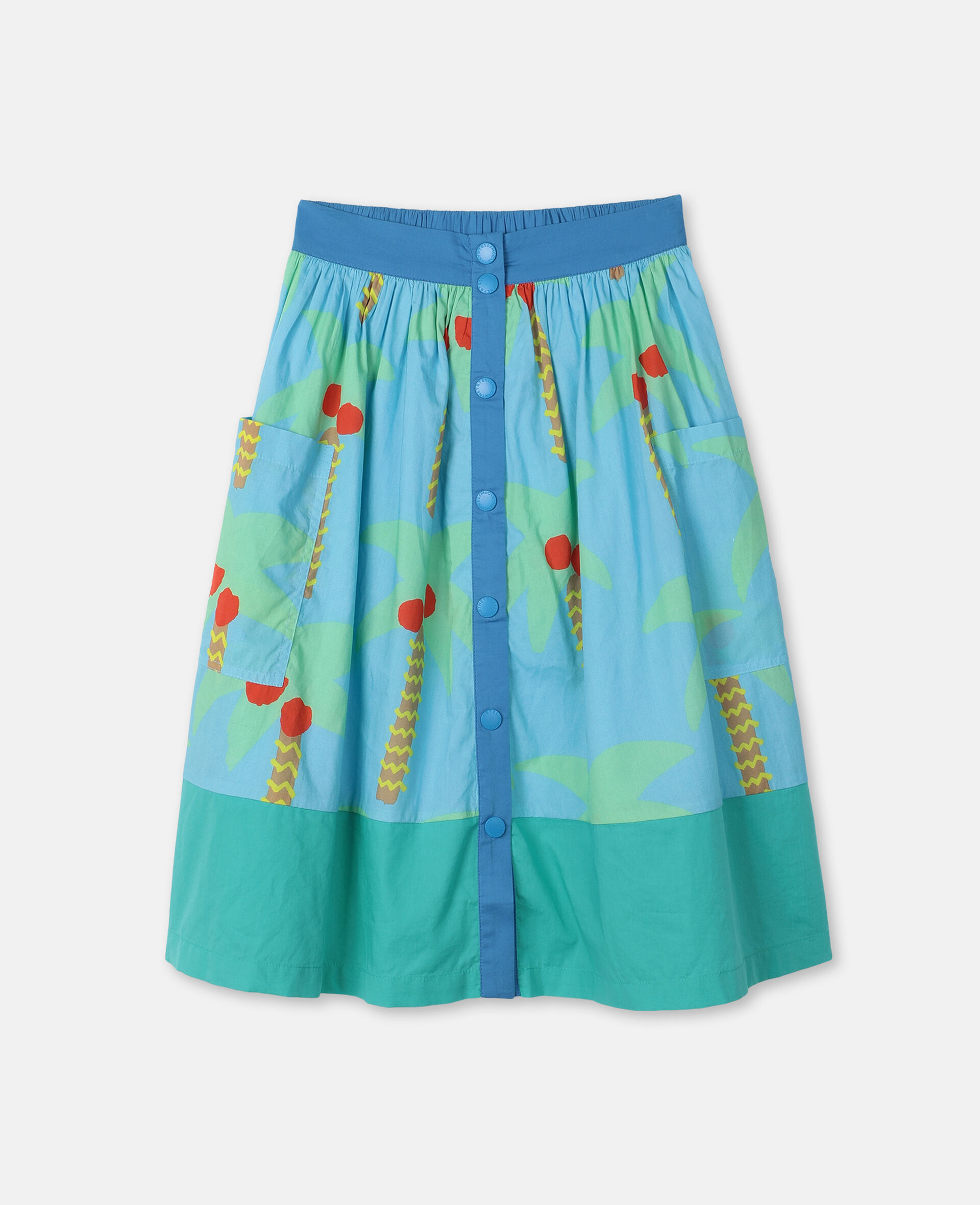 Palm Trees Cotton Skirt -Green-large image number 0