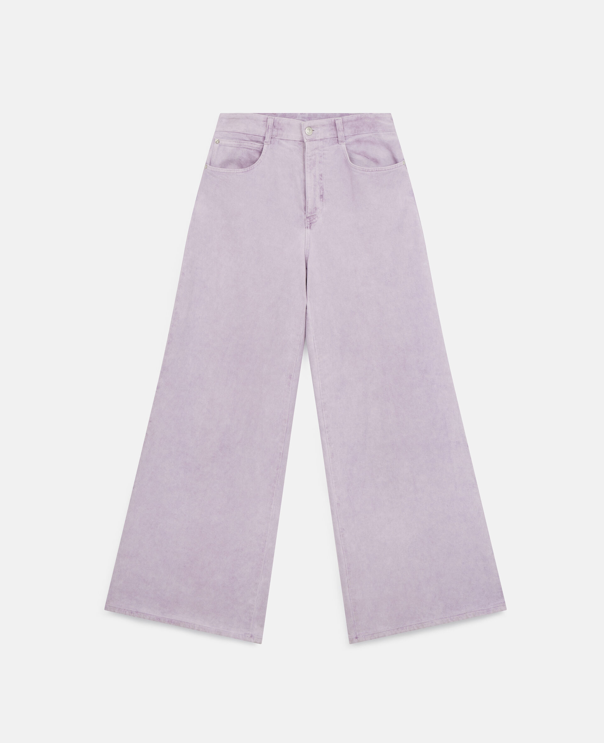 Flared Denim Trousers-Purple-large image number 0