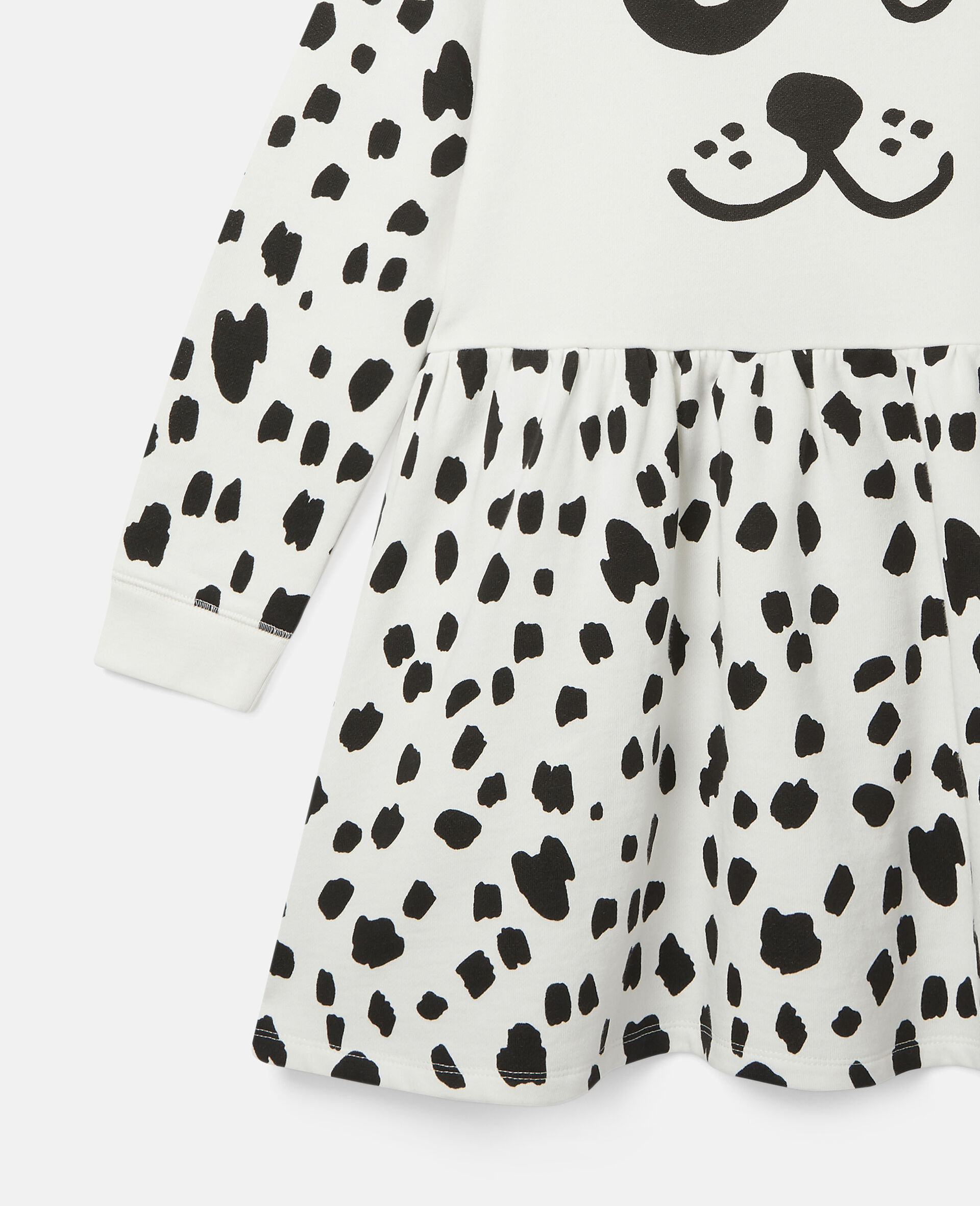 Dalmatian Spots Fleece Dress-White-large image number 1