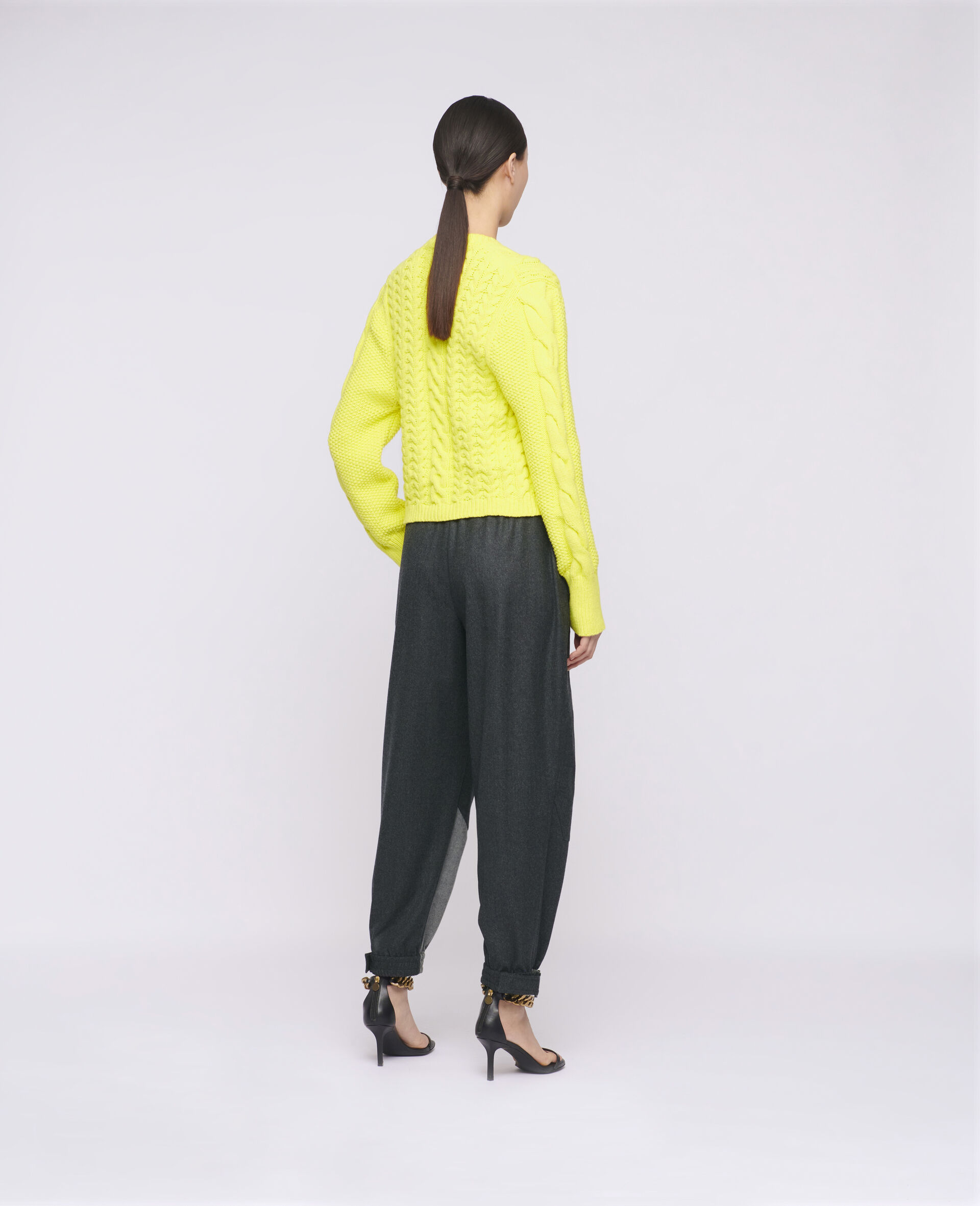 Aran Stitch Cropped Jumper-Yellow-large image number 2
