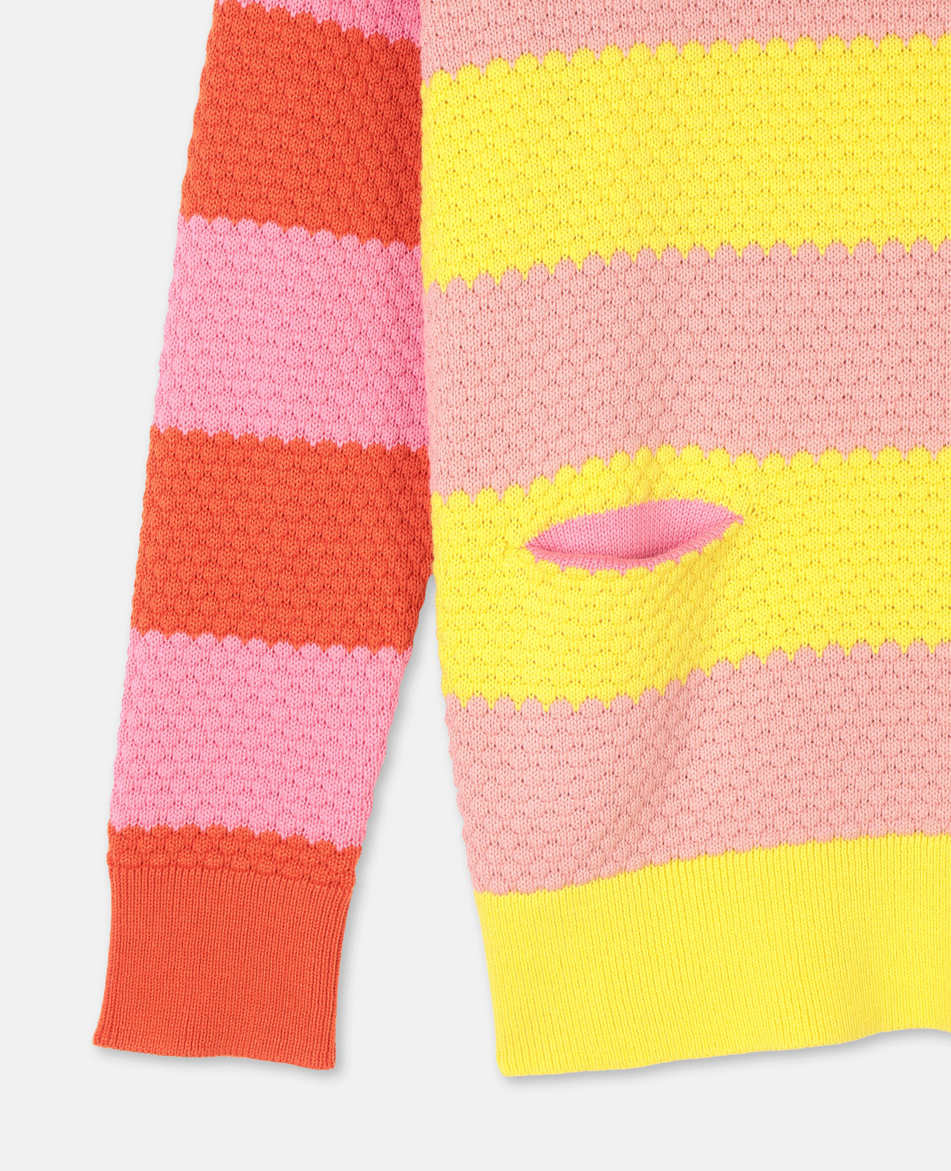 Bubble Knit Cotton Sweater -Red-large image number 1