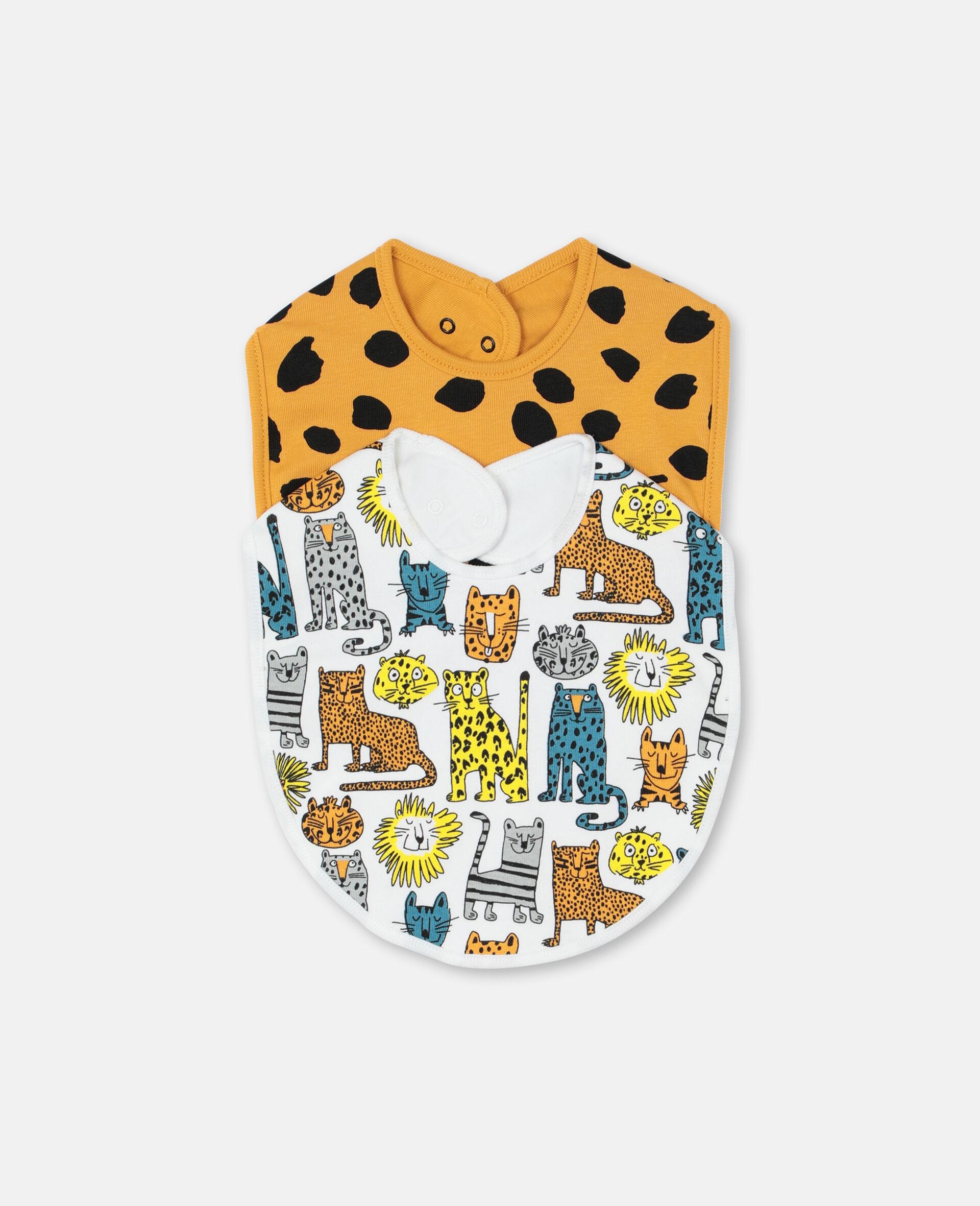 Lätzchen-Set aus geripptem Jersey mit Wildkatzen-Print -Bunt-large image number 0