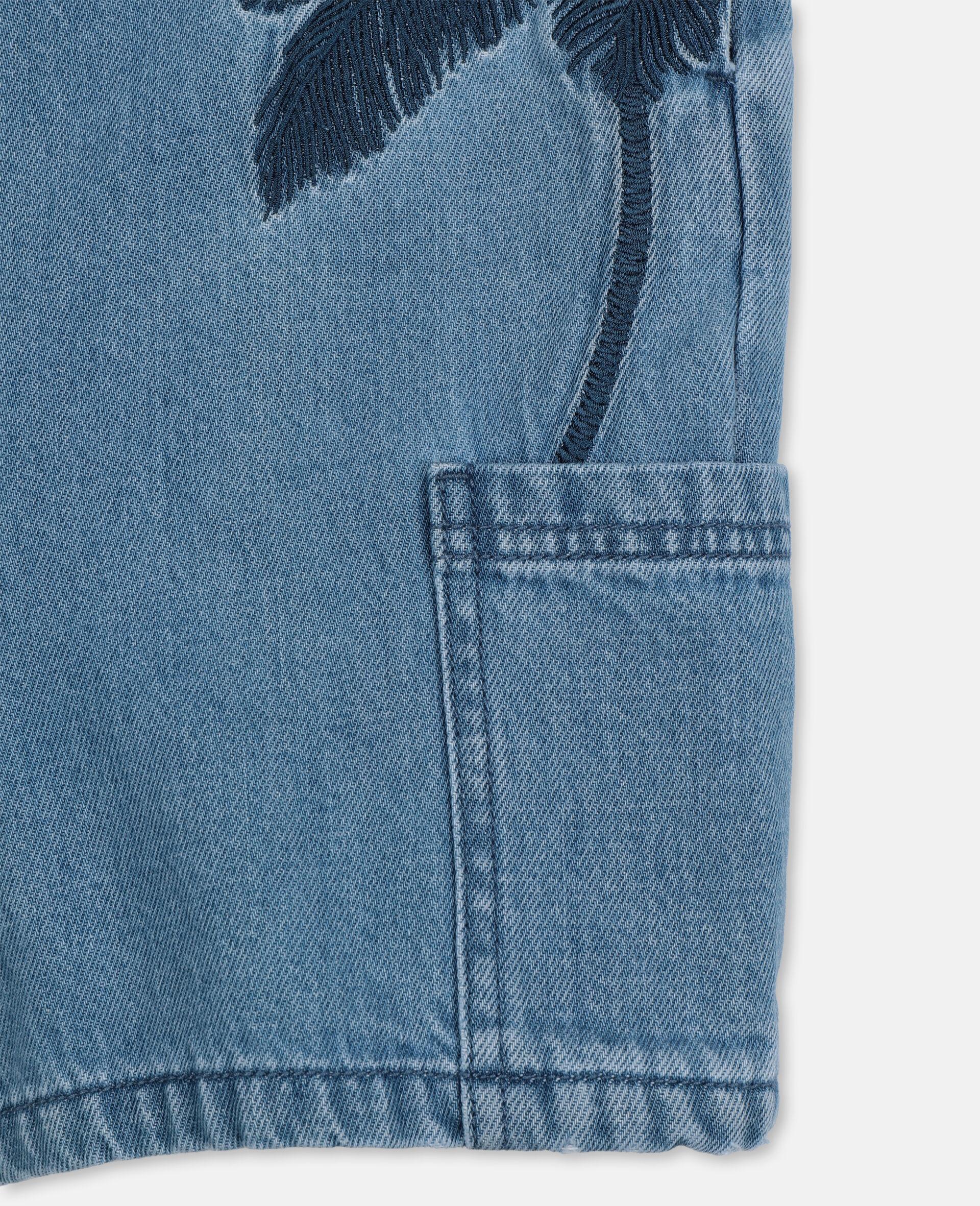 Embroidered Palms Denim Overalls-Blue-large image number 1