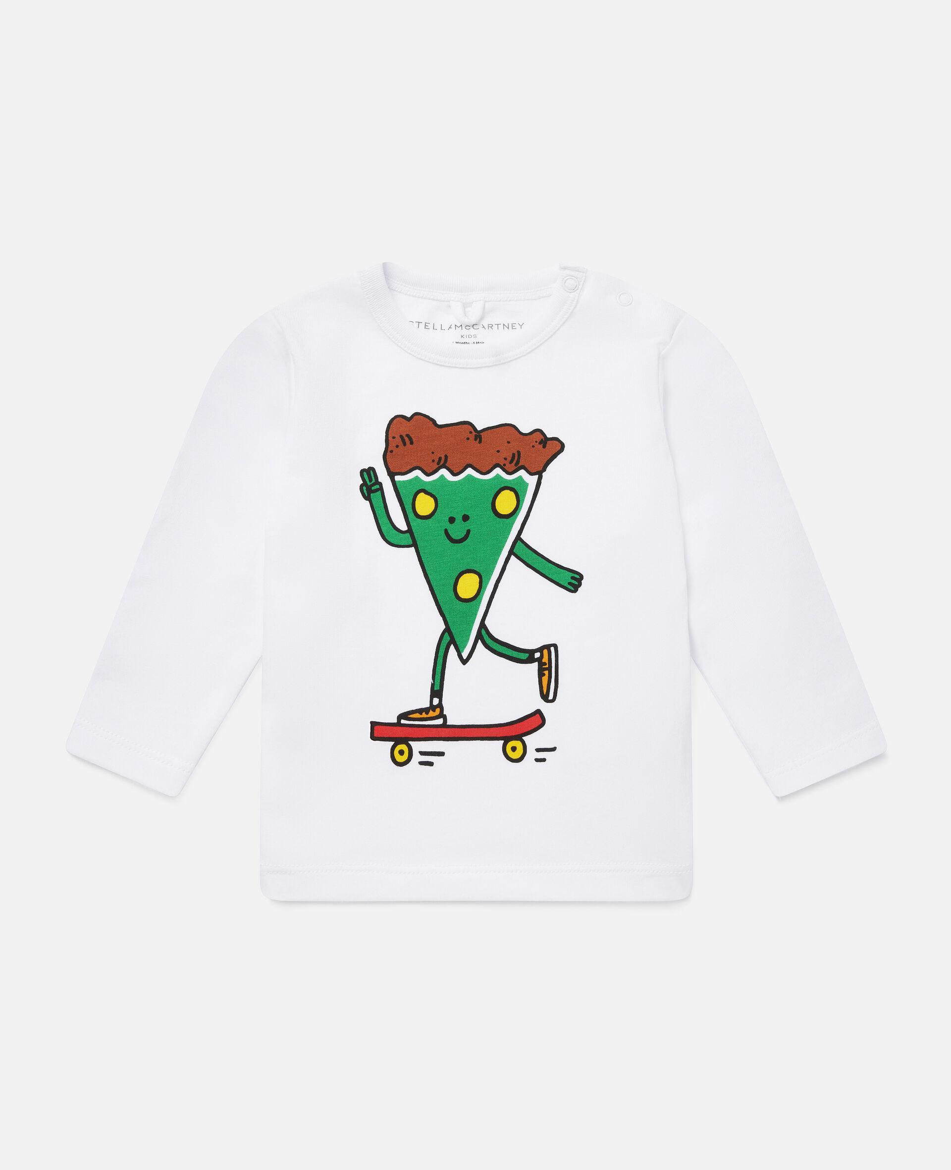 披萨滑板运动员印花平纹针织T恤-白色-large image number 0