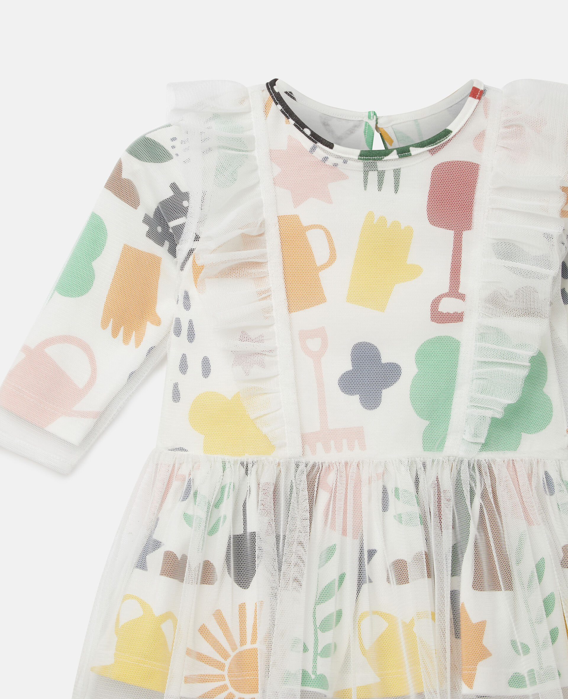 Garden Tulle Dress-White-large image number 2