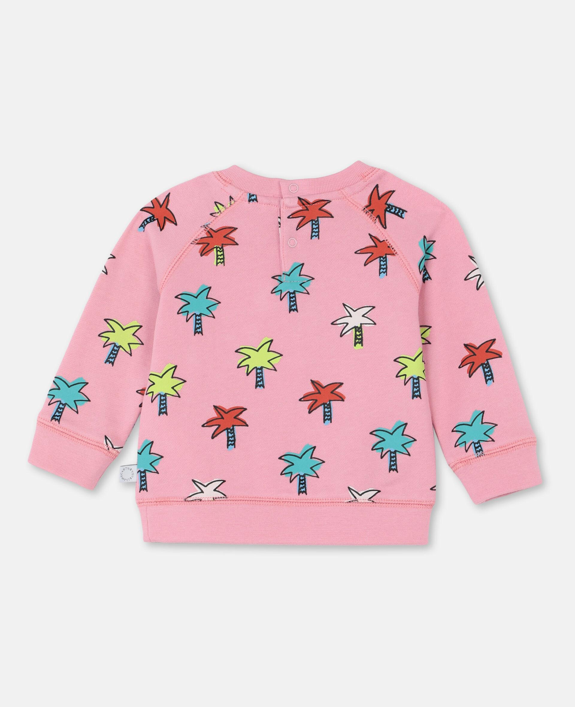 Sweat-shirt en coton à motif palmiers gribouillés -Rose-large image number 3