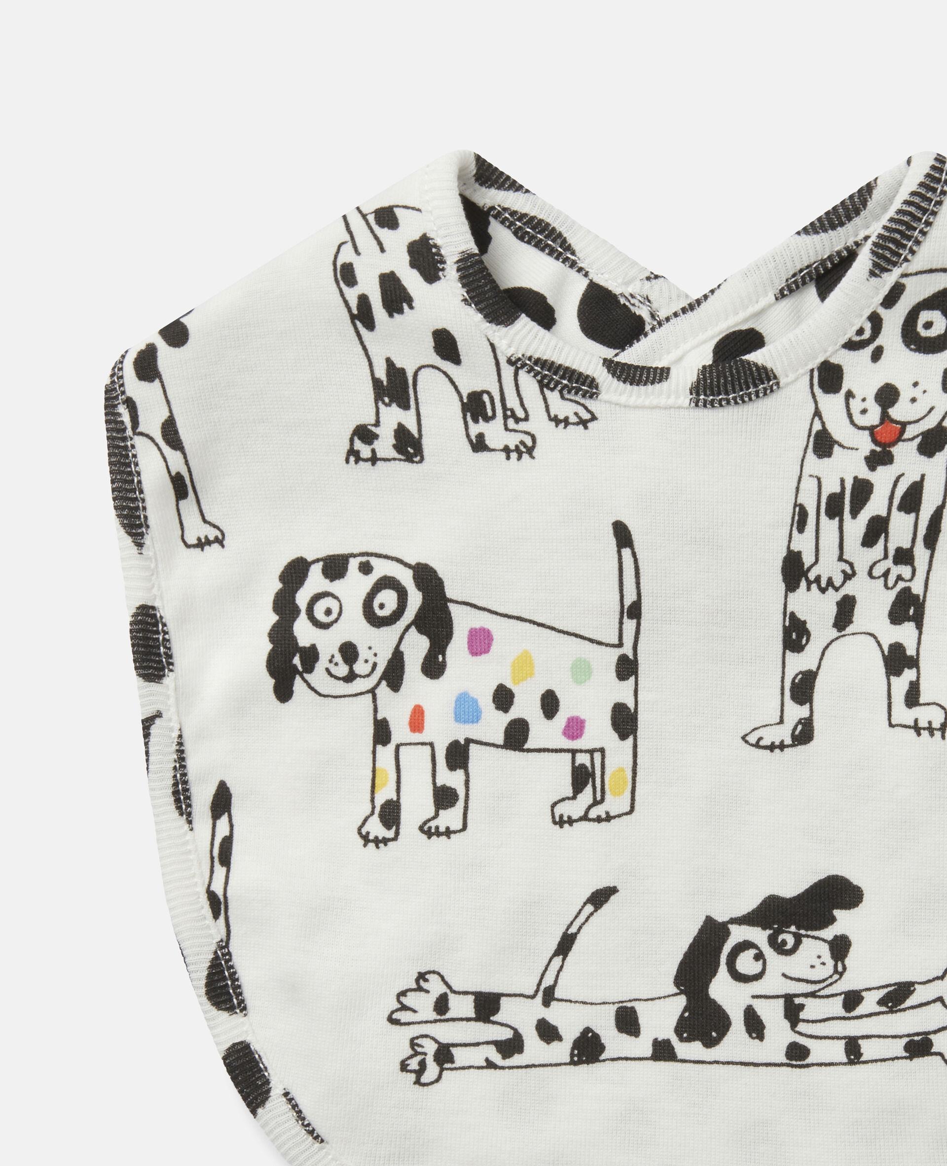 Lätzchen-Set aus geripptem Jersey mit Dalmatiner-Motiv-Weiß-large image number 2