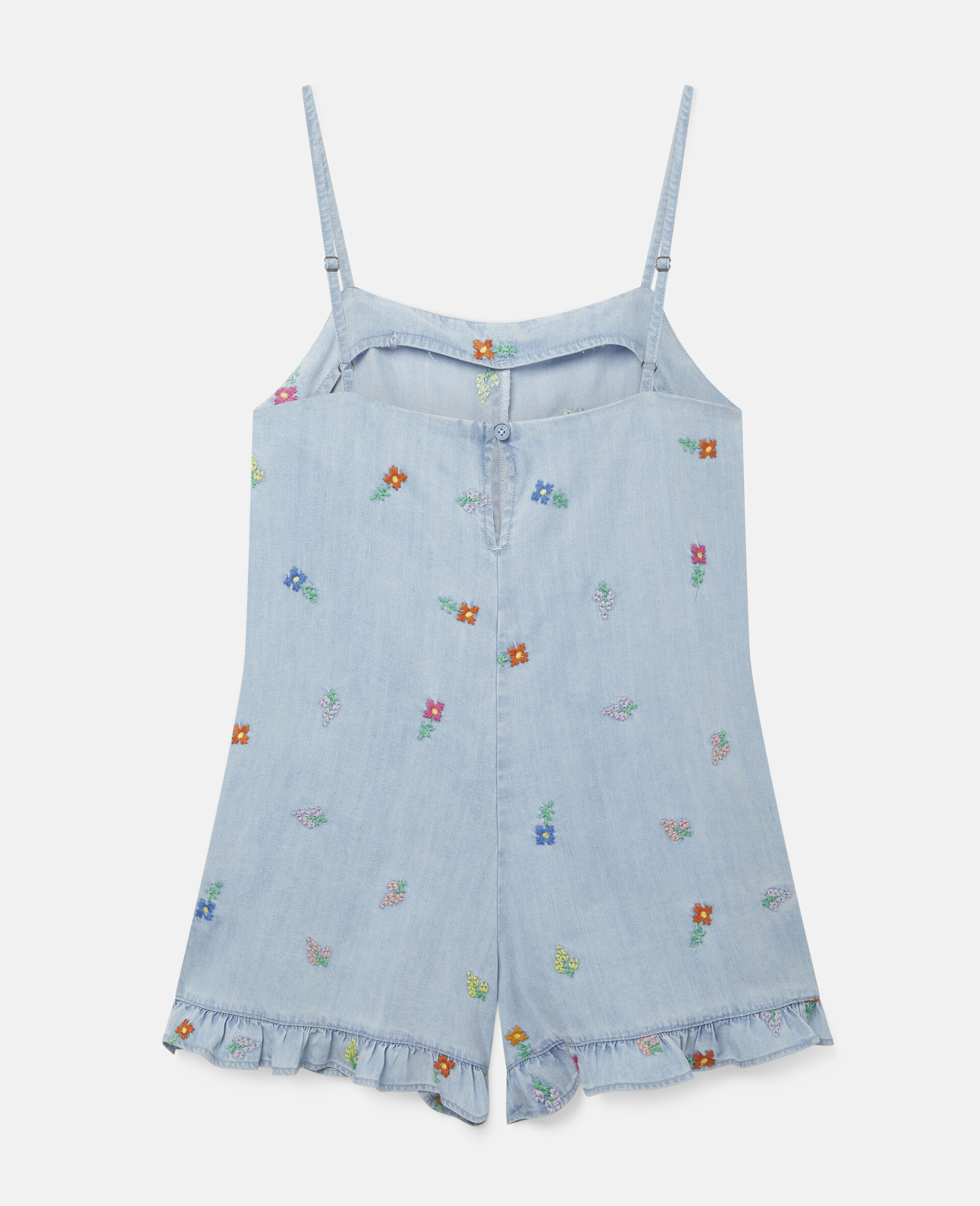 Embroidered Flowers Denim All-In-One-Blue-large image number 3
